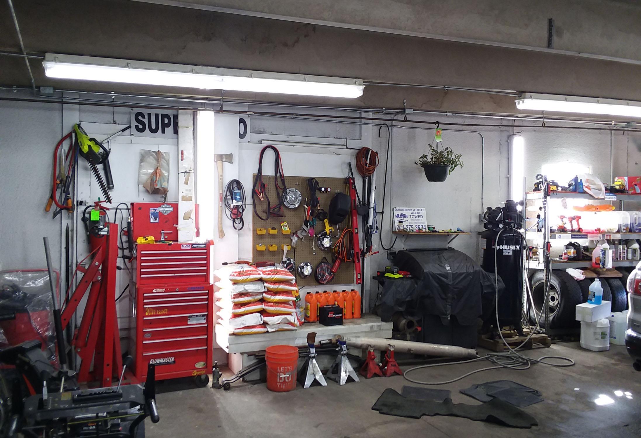 New LED lighting in mechanic shop in Denver, Colorado.