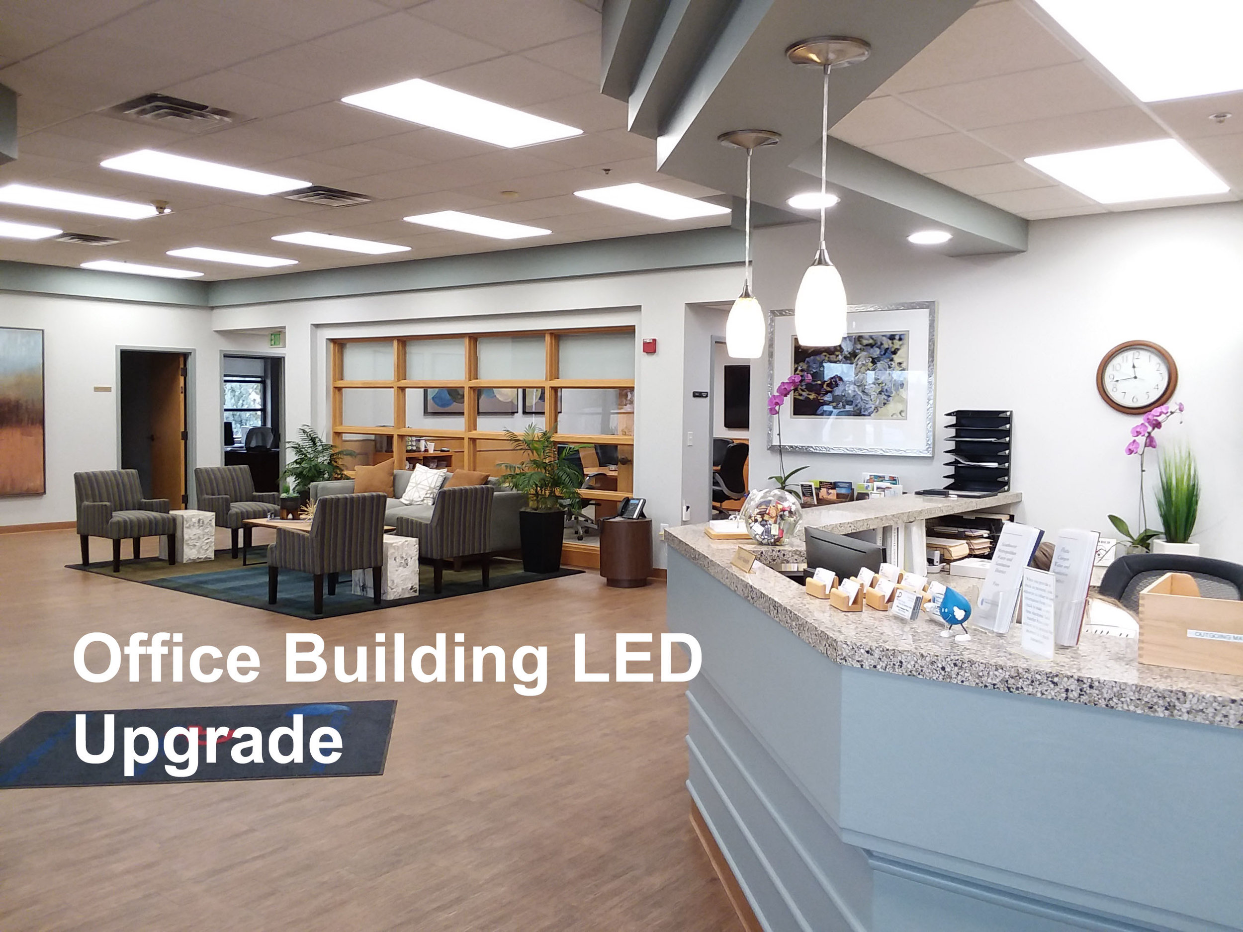 Entire office building LED lighting upgrade in Littleton, Colorado.