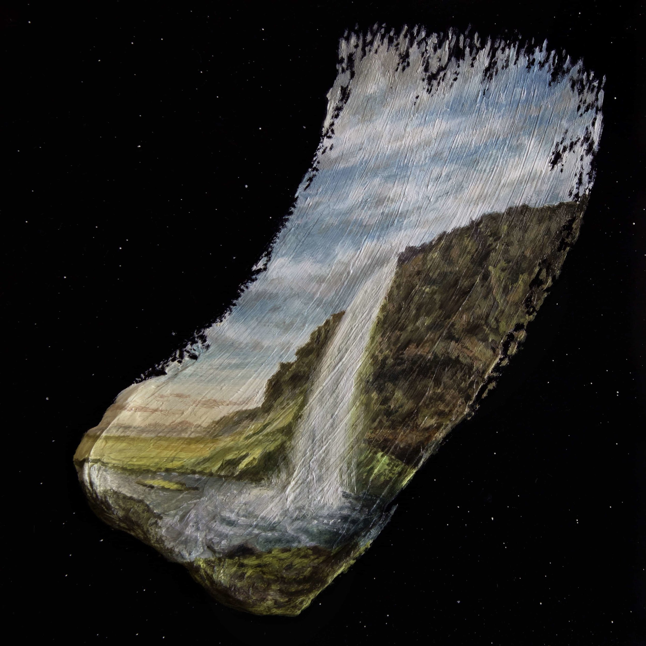"""Seljalandsfoss - Brushstrokes in Time"" oil on 20x20cm mdf panel"