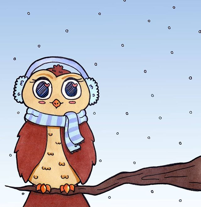 Another page out of my #sketchbook for the @thesketchbookproject !  #sketch #sketches #owl #bird #birds #winter #snow #animal #animals #animalart #animalartists #illustration #illustrator #kawaii #kawaii
