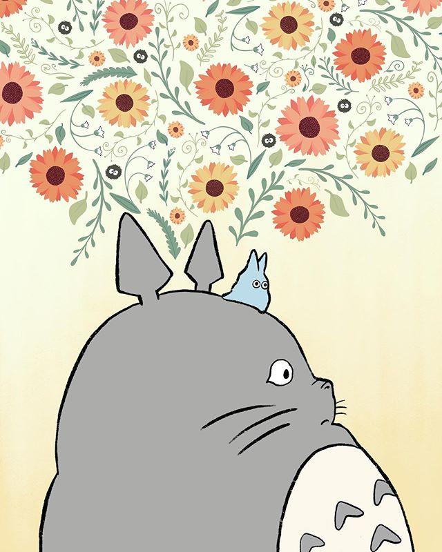 Newest #myneighbortotoro print that will be available @roselleparkarts and at Highland Park Art Walk at the end of September! #miyazaki #hayaomiyazaki #anime #procreate #digitalart #totoro #flowers #nature