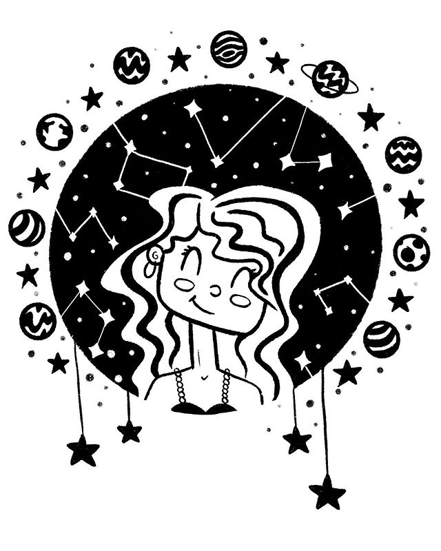 My first #inktober for #inktober2019 ! I'm following @danielleboinay #naturegirlinktober prompt list. Today's prompt was #constellation ✨🌟🌎 #nature #naturegirl #space #star #stars #planets #ink #digital #procreate #illustration #inktoberprompts #inktoberchallenge #cuteartfeatured #drawing #illustration_daily #childrensbooks #childrensart #childrensbookart #books
