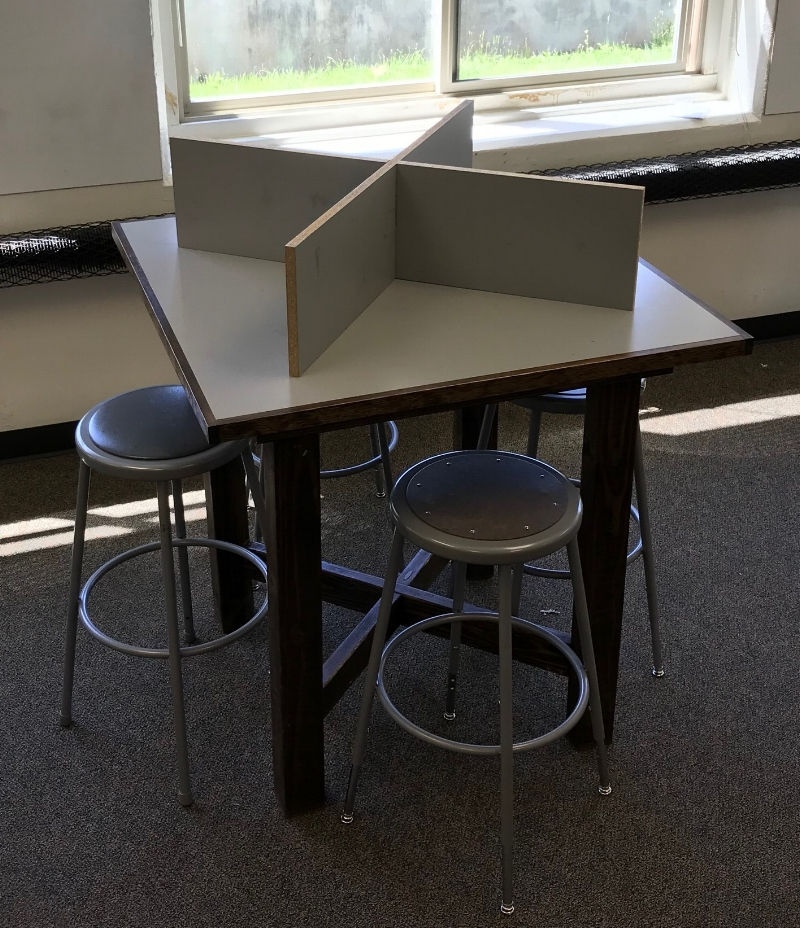 Chad's homemade stand-up tables with the removable test dividers -