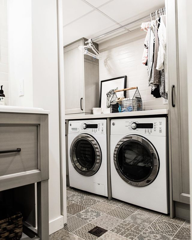Small spaces can still be exciting when designed properly! Our clients wanted us to integrate their laundry system into their pre established rough in for their powder room in the basement. We said 100% yes and now they have a killer space, that is functional and maximizes the footprint of the space itself.  Ummmm and did you see the tile floor we picked? All we can say is tile heaven! It is a great feature in a small space, and gives it a personality all of its own! . . . #bathroomrenovation #powderroom #smallbutmighty #tileheaven #tilegoals #hgtv #jmg  #jmgrenovations #contractingservices #pattern #design #interiordesign #oakvillecontractor #tbt #mondaymotivation #renovation #mississaugacontractor