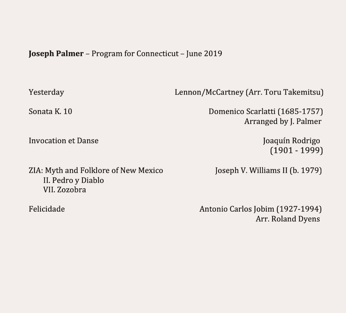 Joseph Palmer program: June 20th Evening Concert