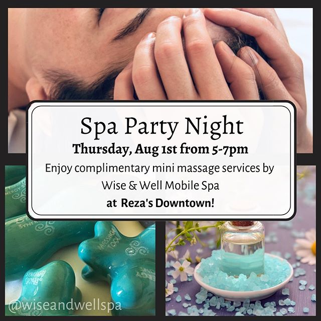 Spa Party Night tomorrow @rezasdowntown !!! ✨  Come enjoy some: ✅Delicious coffee ✅Gorgeous ambiance ✅Free jade roller facial massage ✅Free 10 mins with me, my mitts, and magical synergy stones.  You'll get to experience a mini dose of what our spa parties are like, learn how to book the whole shebang for yourself, AND have the best excuse to check out a lovely new locally-owned female-led business beautifying Wayne Ave.  Melissa and I would LOVE to see you so come by tomorrow between 5-7 💚💚💚 ***** REVISION: books are FULL for this weekend before we leave on vacation, see you on the 12th! ⁣  Now booking services ⁣⁣ ⁣⁣ Check out website⁣⁣ ⁣⁣ www.wiseandwellspa.com⁣⁣ ⁣⁣ Email erin@wiseandwellspa.com⁣⁣ ⁣⁣ Call 937.476.1559 . . . #spa #spanight #mobilespa #massage #massagetherapy #jaderoller #esthetician #hotstones #spaparty #girlsnight #dayton #ohio