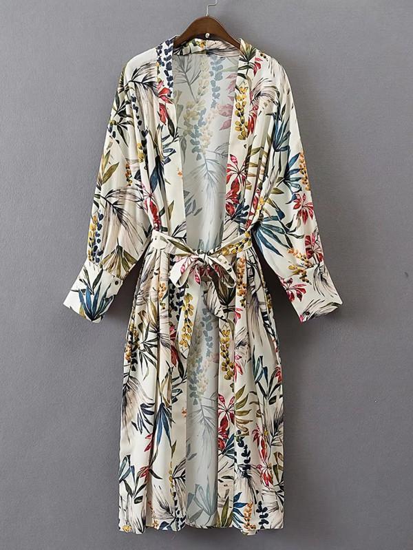 Floral Print Longline Kimono $24