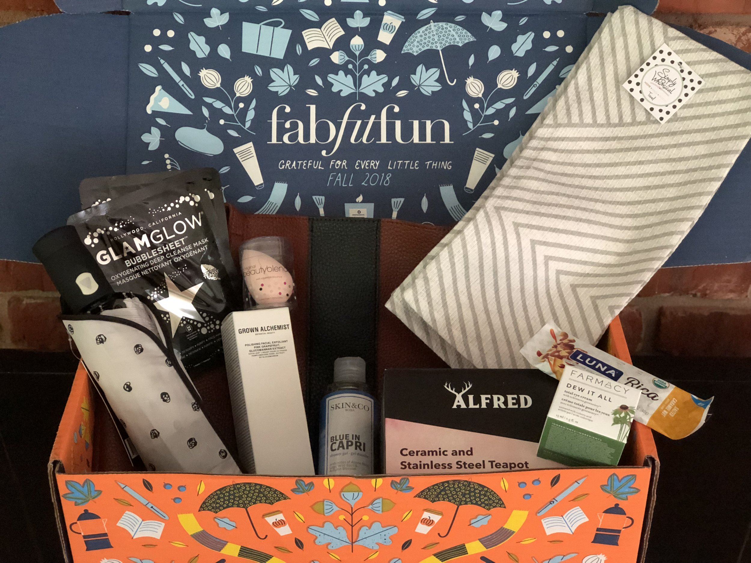 mY fABFITFUN BOX---  vINCE CAMUTO LUCK TOTE IN RED DESERT $128, beAUTY BLENDER $20, gLAMGLOW bUBBLE sHEET dEEP cLEANSE MASK 2 PACK- $18, sIMPLY WHIMSICAL TEA TOWELS $15, skIN&CO rOMA BLUE SHOWER GEL $22, cATHERINE MALADRINO UMBRELLA $40, ALFRED TEAPOT $26, gROWN aLCHEMIST POLISHING FACIAL EXFOLIANT $67, FARMACY DEW IT ALL TOTAL EYE CREAM $38.  tHIS ALL TOTALS TO $374! tHE SEASONAL BOXes are $50 . CHECK OUT  MY SUBSCRIPTION ADDICTION BLOG  TO SEE OTHER BOXES I GET.