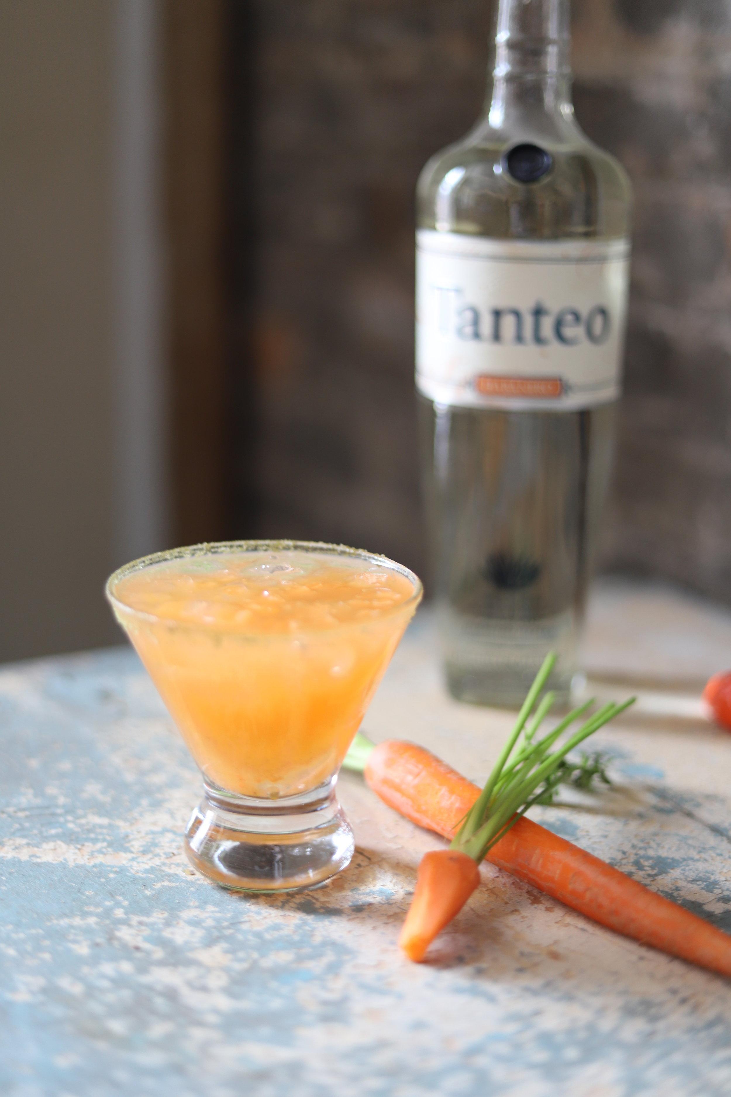 Recipe   2 oz. Tanteo Habanero Tequila  1.5 oz. Carrot Juice  1 oz. Fresh Lime Juice  ½ oz. Agave Nectar