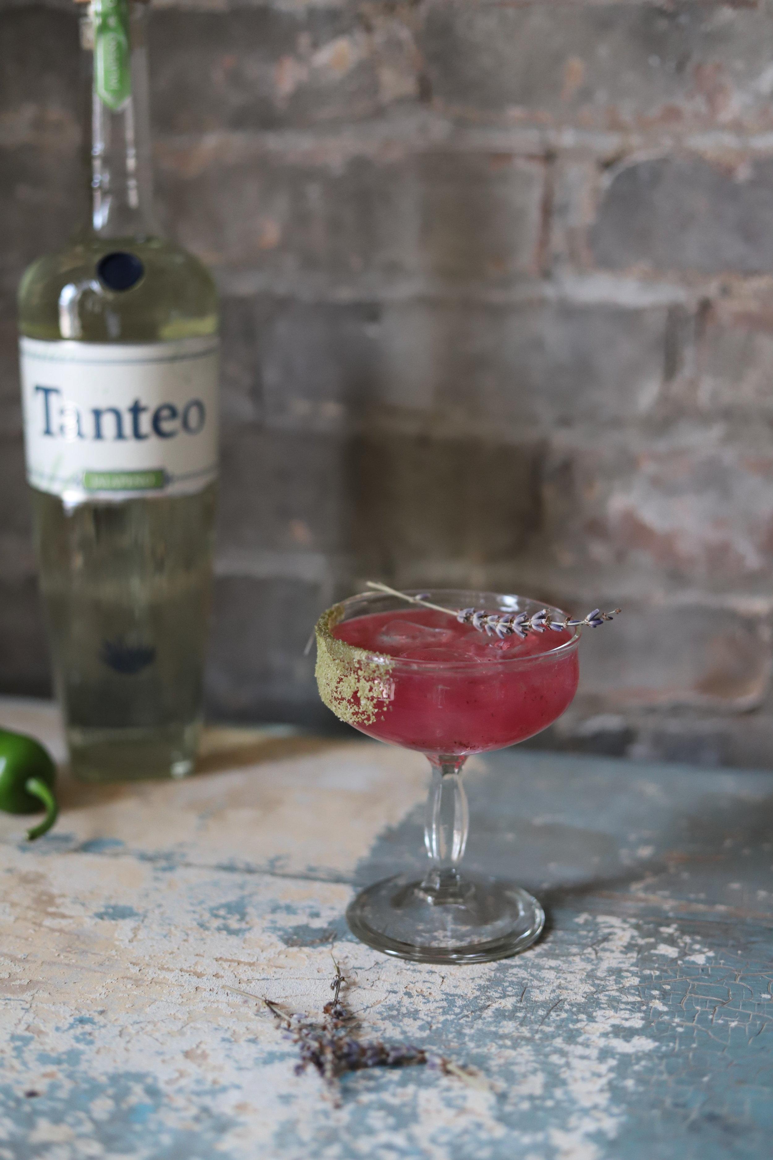 Recipe :  2 oz. Tanteo Jalapeño Tequila  1 oz. Lavender Syrup  ¾ o. Fresh Lime Juice