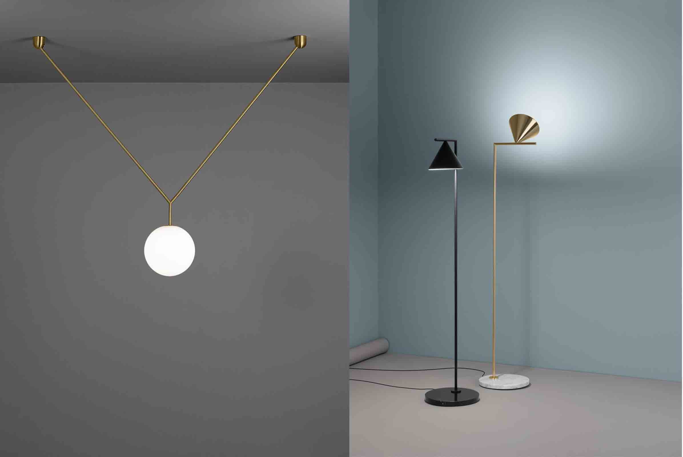 'Notch' pendant (left) and 'Captain Flint' floor lamps (right) both designed by Michael Anastassiades for Flos
