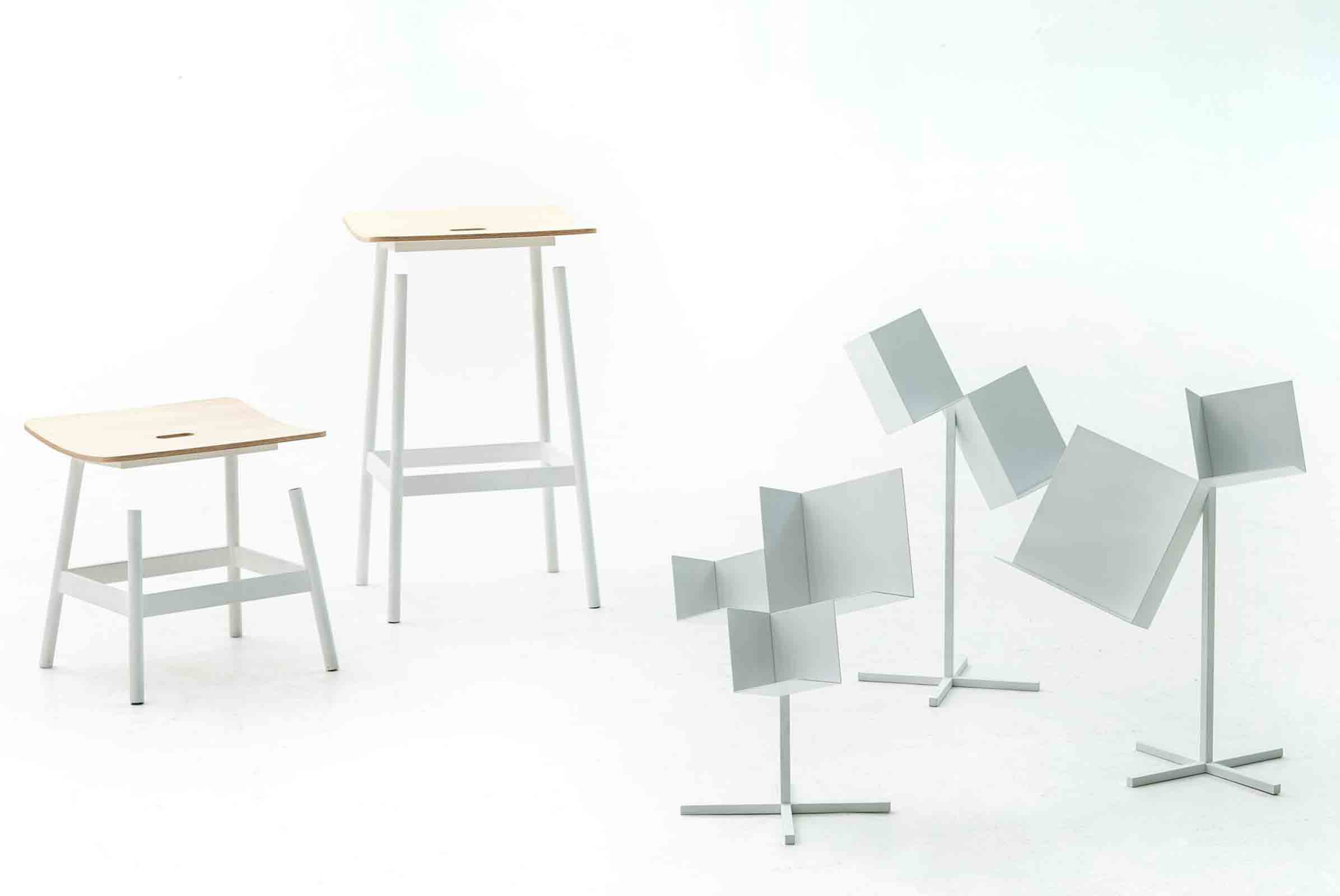 'Float' stools and 'Corners' storage designed by nendo for Moroso