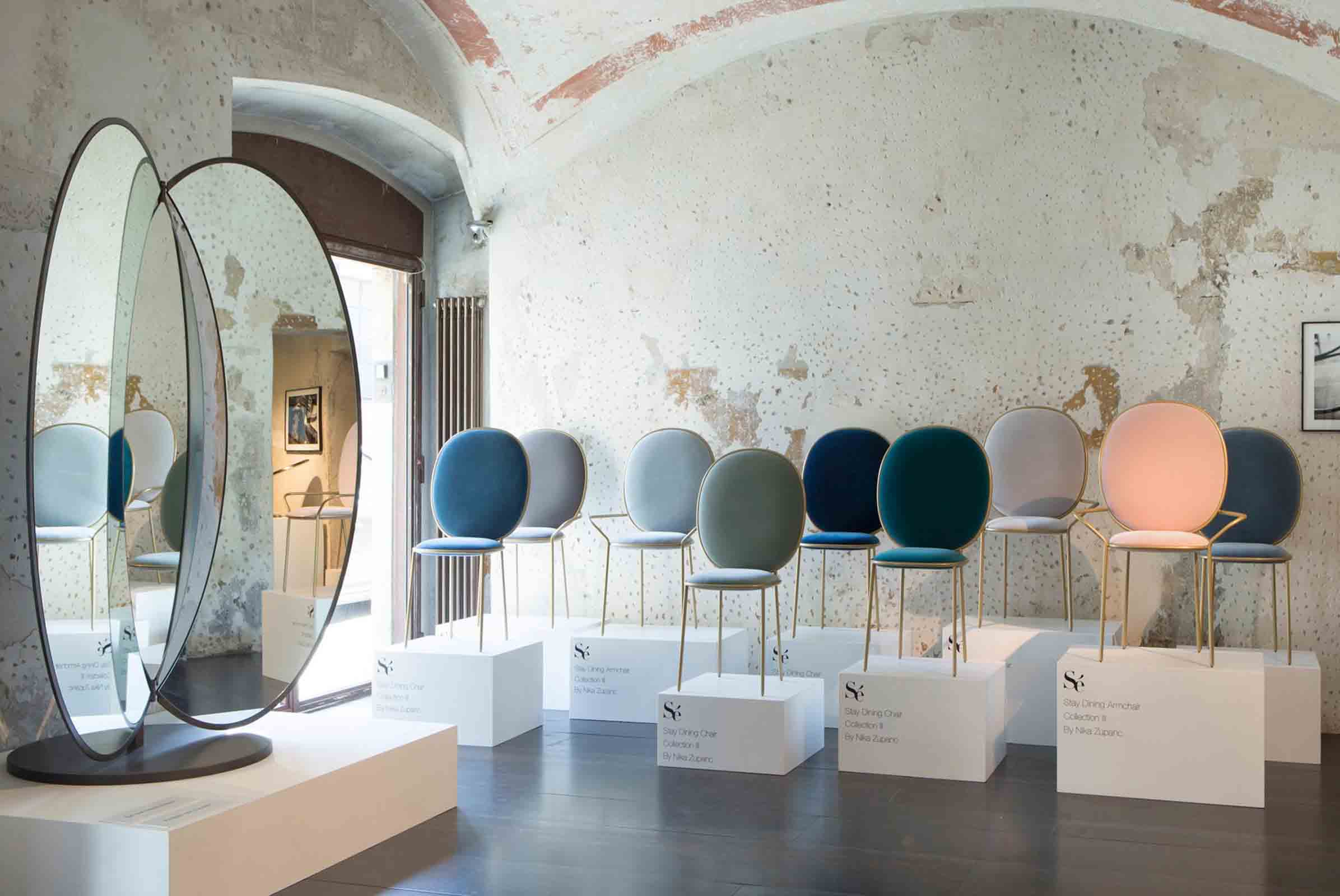 'Stay' chairs and Dressing mirror from Collection III designed by Nika Zupanc for Sé on display at Spazio Rossana Orlandi