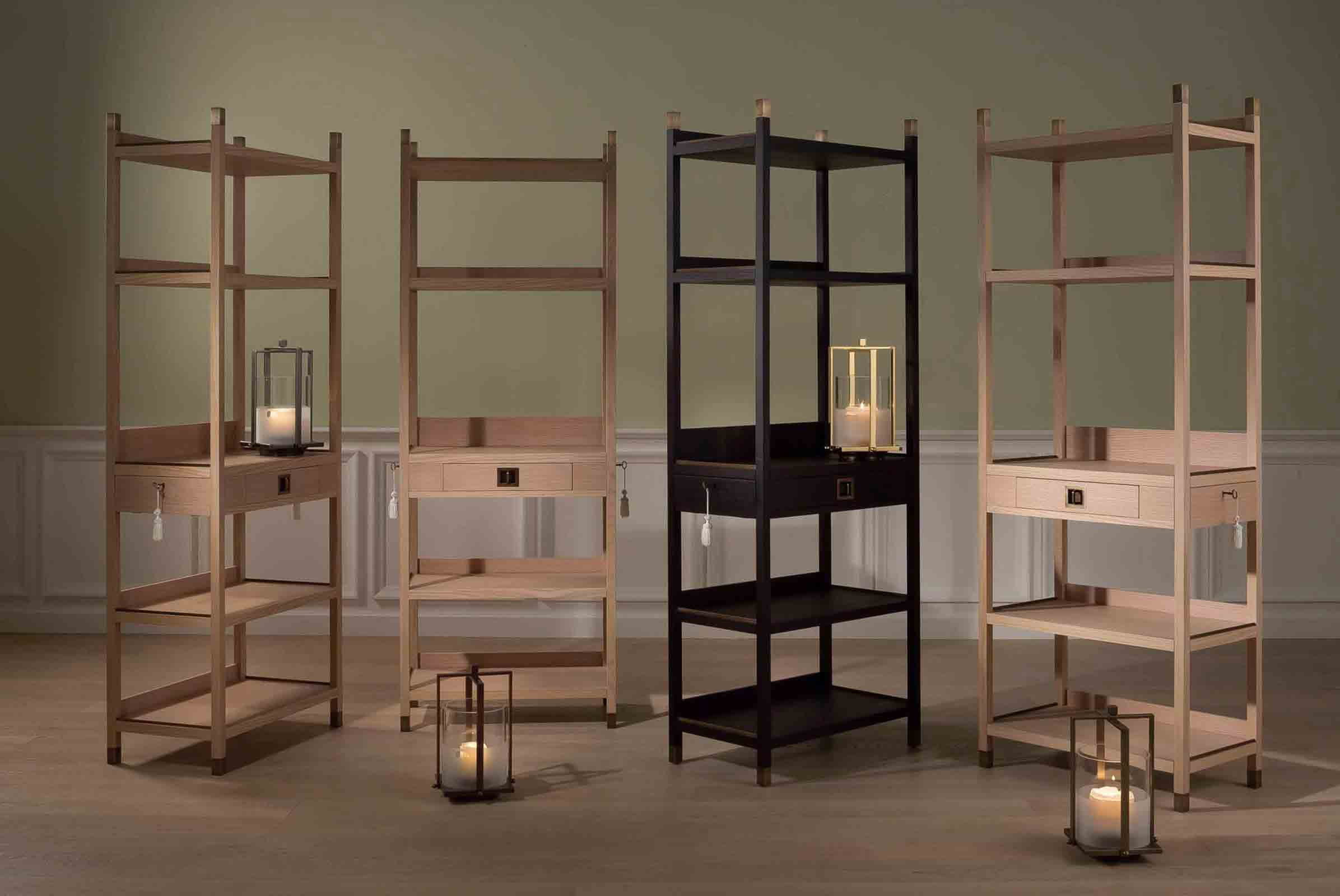 'Pigalle' bookcase and 'Cyrus' candleholders from Bellavista Collection