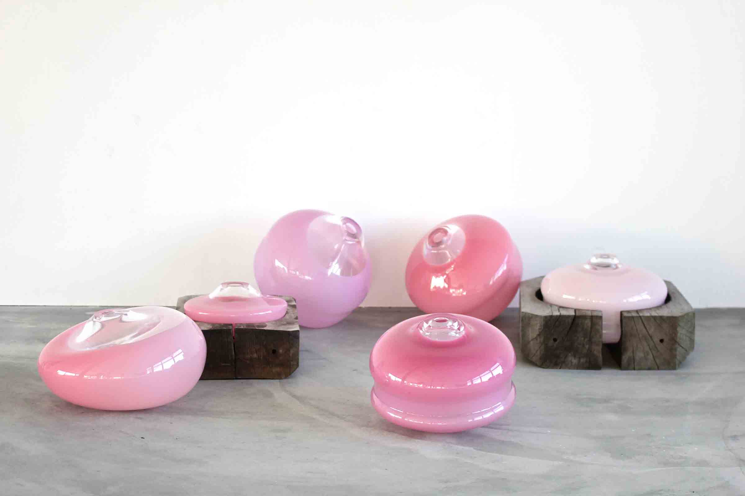 Glass and wood vessels by Alexa Lixfeld