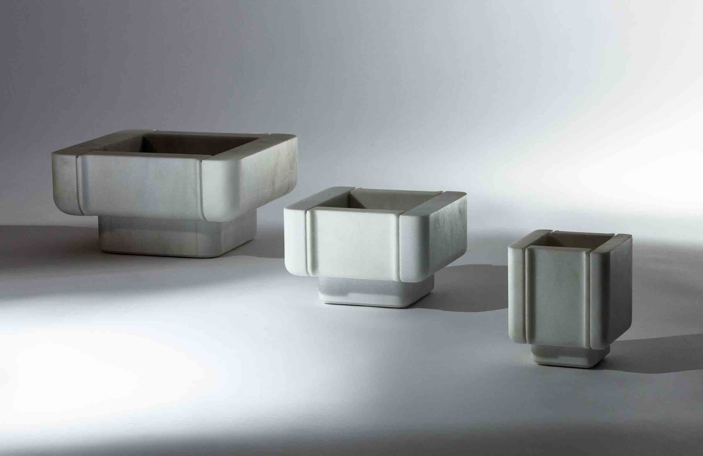 Marble vessels, designed by Thierry Lemaire for Blanc Carrare