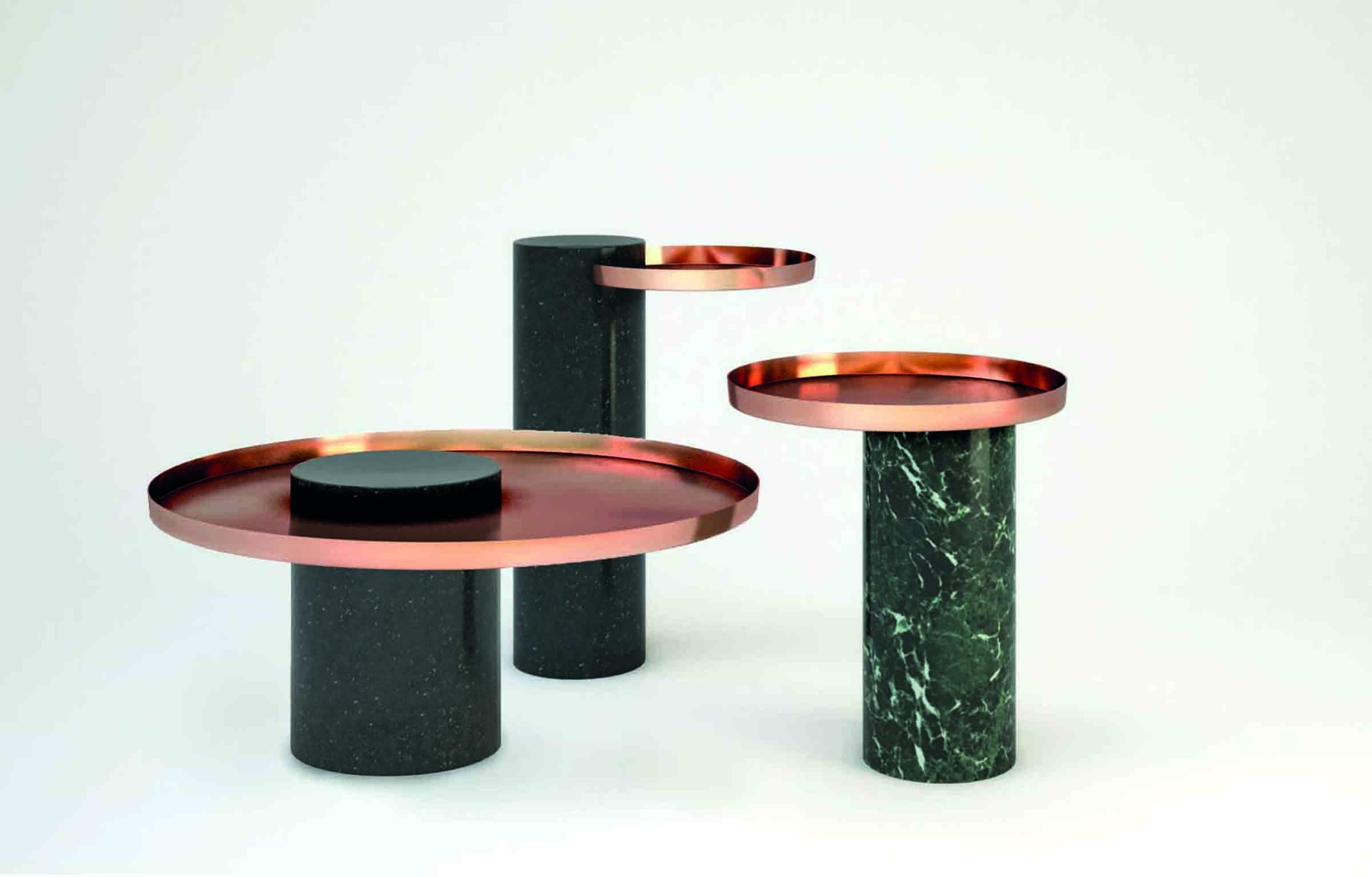 'Salute' tables, designed by Sebastian Herkner for La Chance