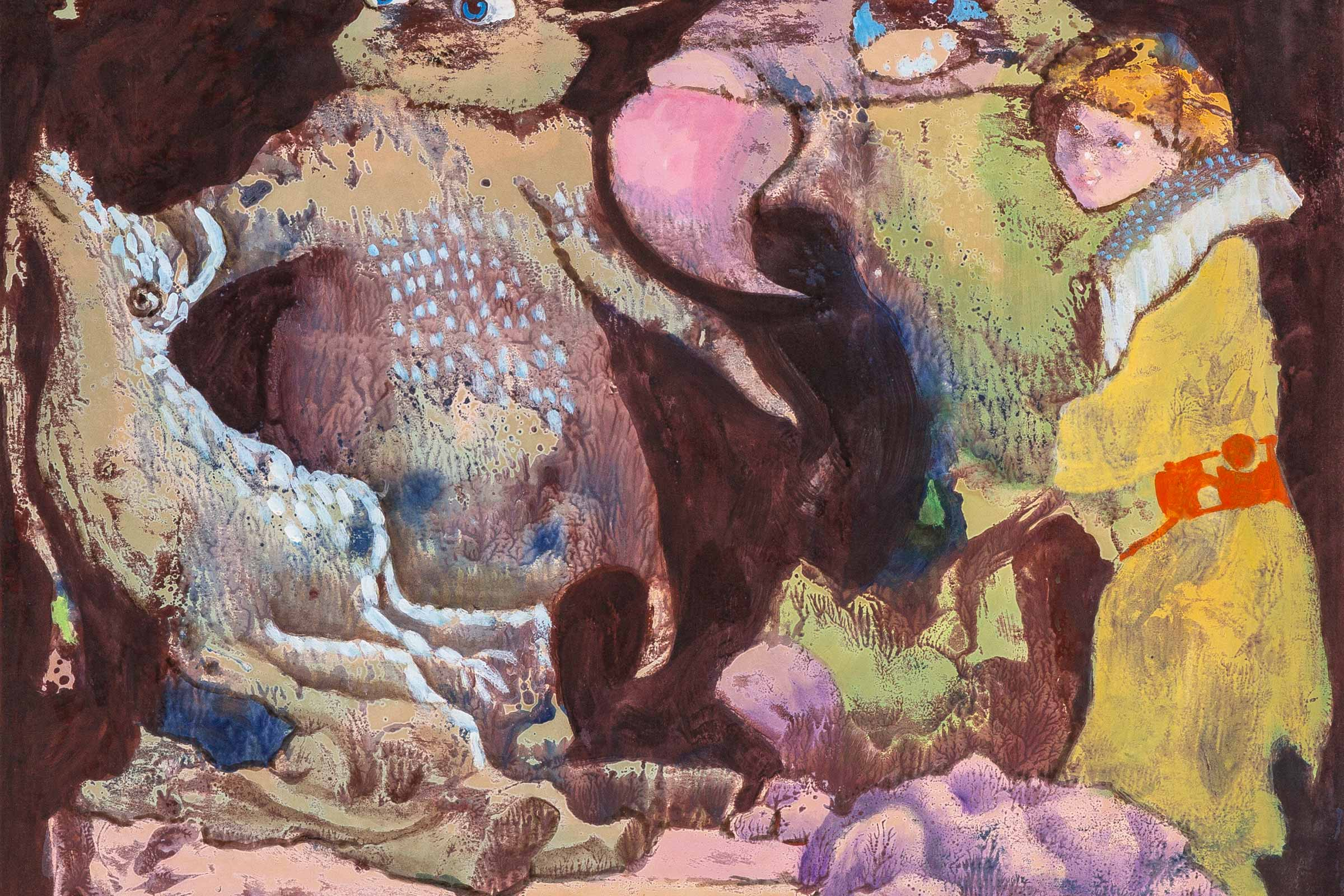 Untitled (Goldenhaired Girl with Bird and Beasts)  Luis Chan 1964-1971 Acrylic on paper 45 × 59 cm Unique Generously donated by Red Rock Studio