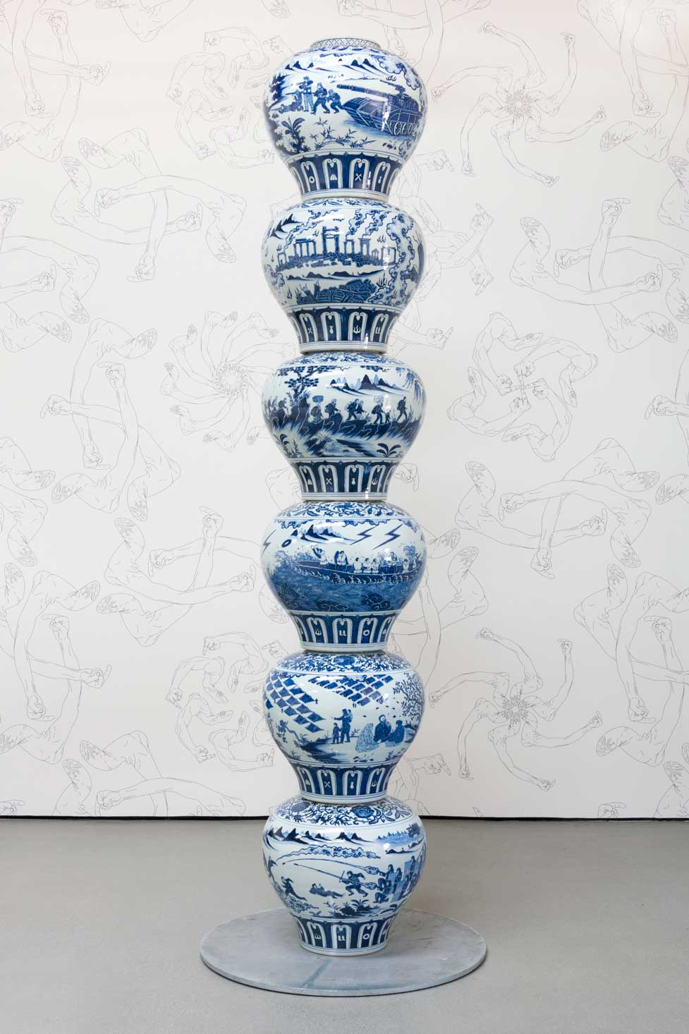 Vases with Refugee Motif as a Pillar  (2017) Ai Weiwei Installation view Photo by Jeff Mclane