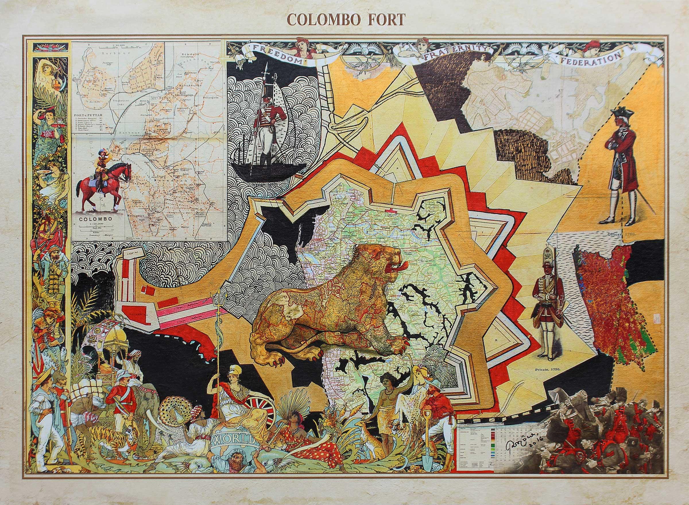 Pala Pothupitiye,  Colombo Fort . Acrylic and ink on archival print on archival canvas, 56 x 76cm