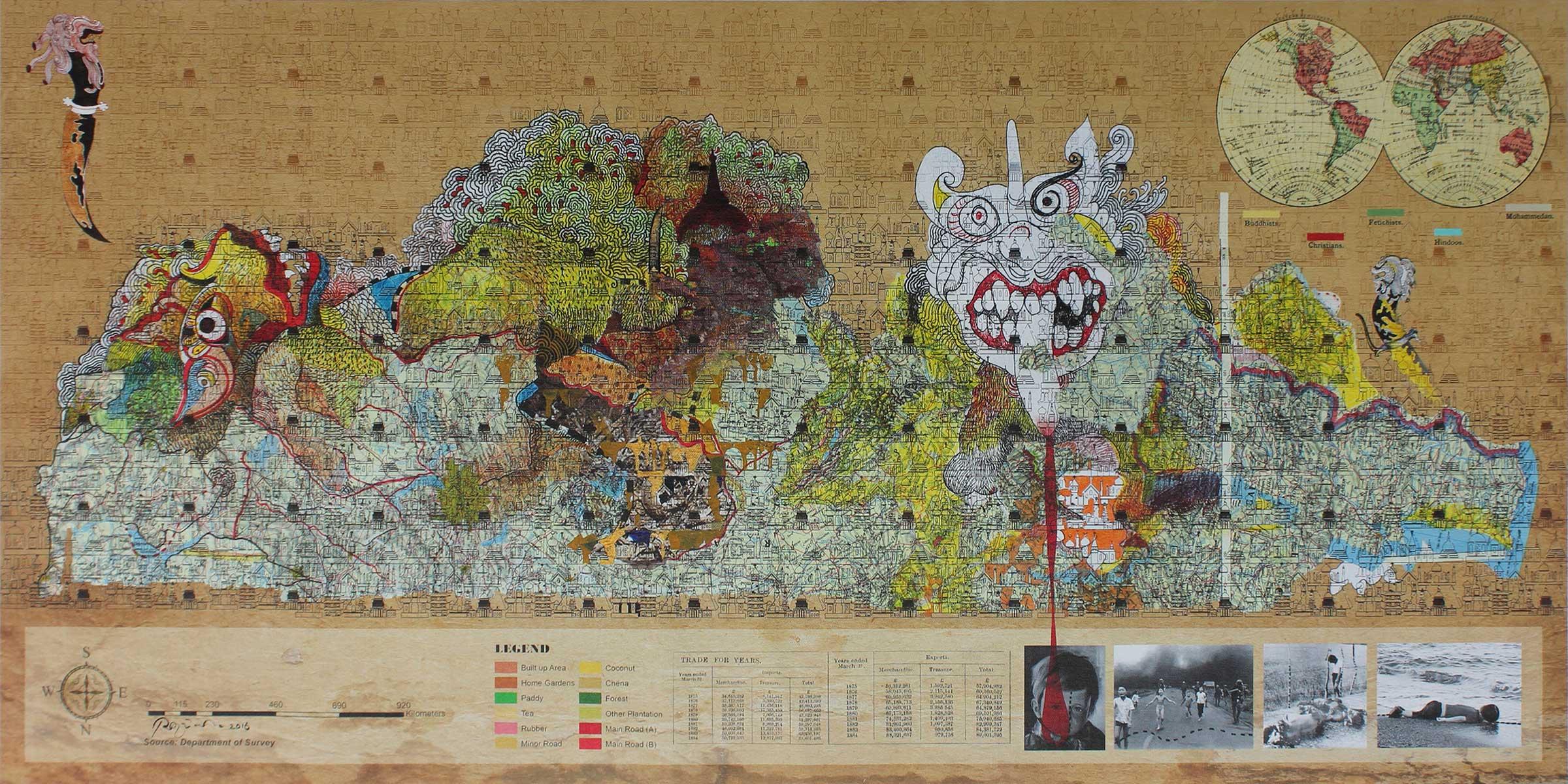 Pala Pothupitiye,  Legends , 2015-2016. Acrylic and acrylic ink on archival print on archival canvas, 50 x 100cm