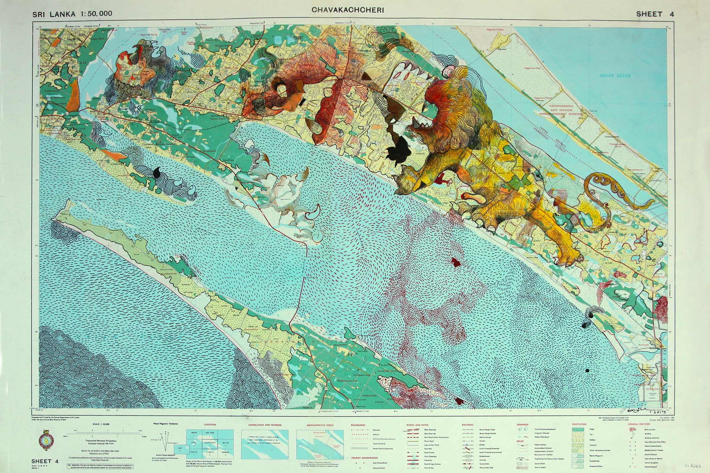 Pala Pothupitiye,  Chavakachcheri Map , 2015. Government printed map, ink, pencil, Japanese rice paper, 65 x 90cm