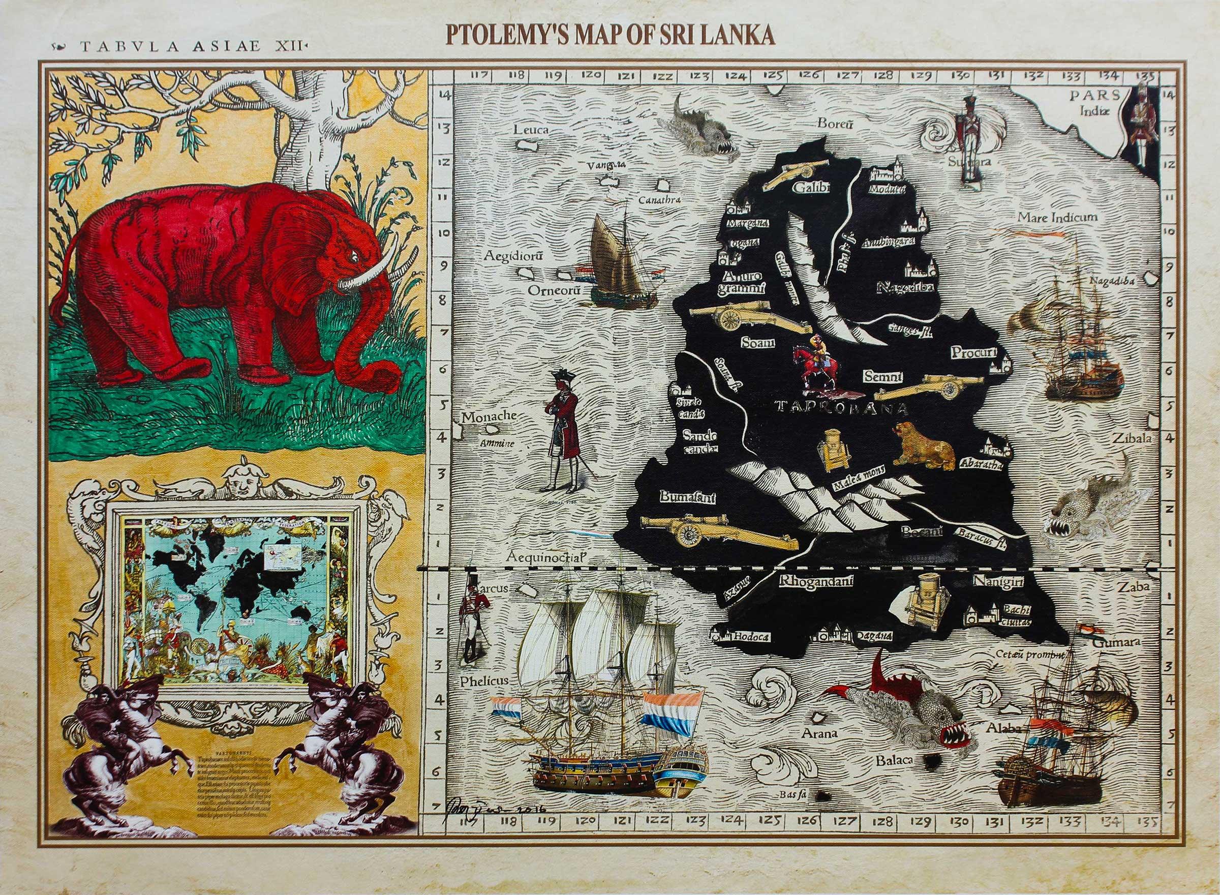 Pala Pothupitiye,  Ptolemy's Map of Sri Lanka , 2016.  Acrylic and ink on archival print on archival canvas, 56 x 76cm