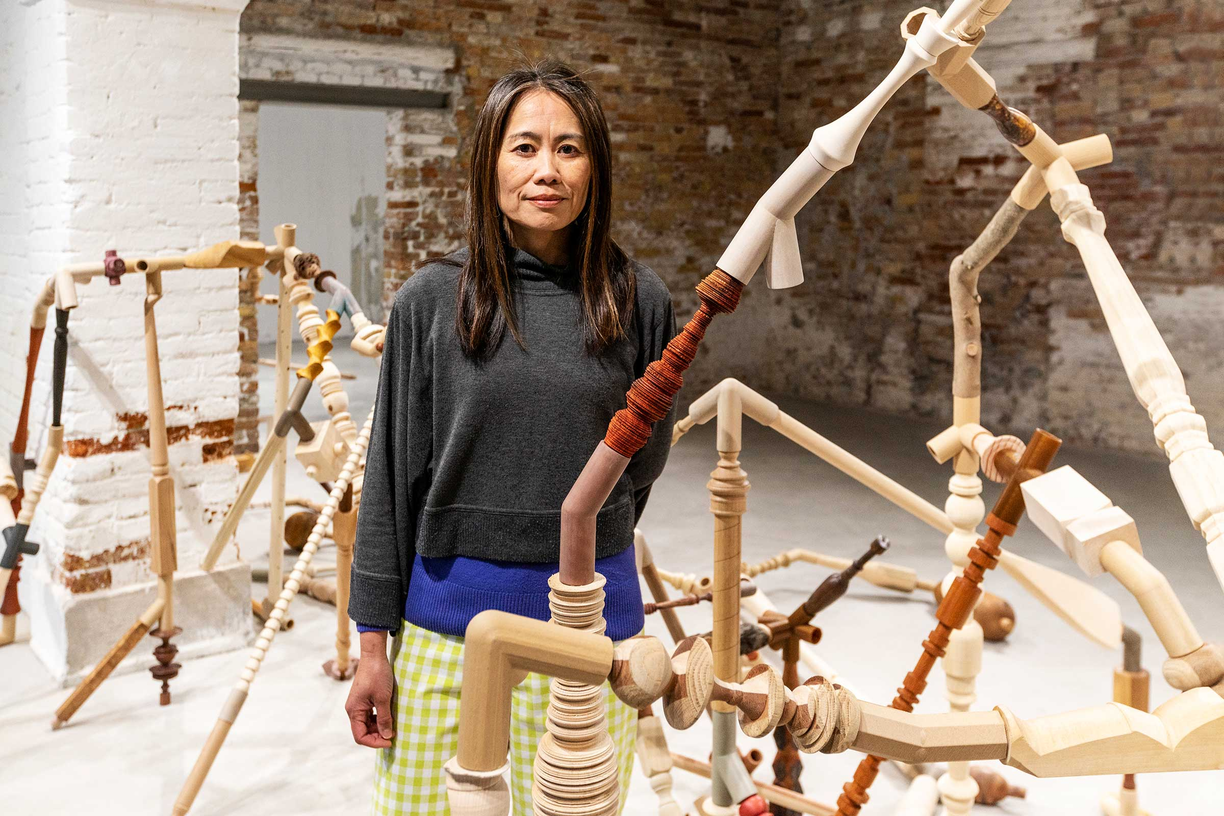 Shirley Tse with  Negotiated Differences  at  Shirley Tse: Stakeholders, Hong Kong in Venice , 2019. Image by Ela Bialkowska, OKNOstudio. Courtesy of M+ and the artist