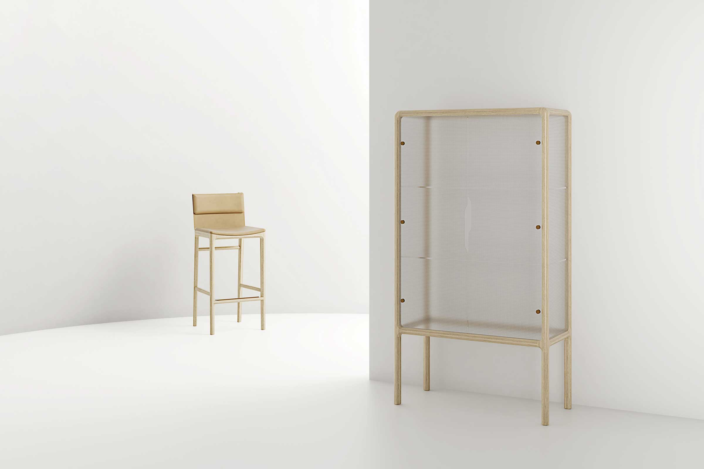 The Taylor cabinet and bar stool for Stellar Works