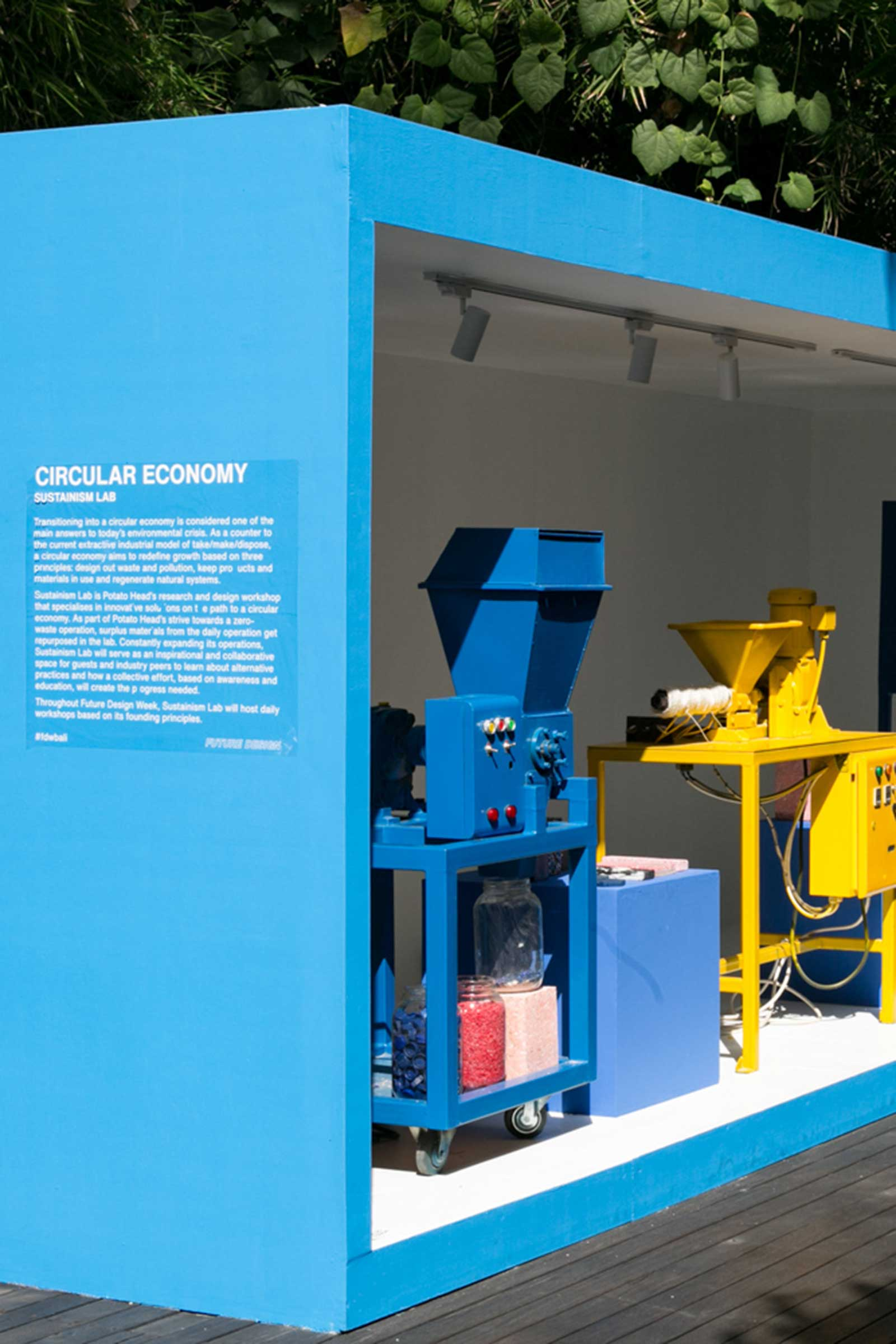 Sustainism Lab's lego-coloured machinery upcycles plastics into wares for the hospitality complex. Images courtesy of Potato Head
