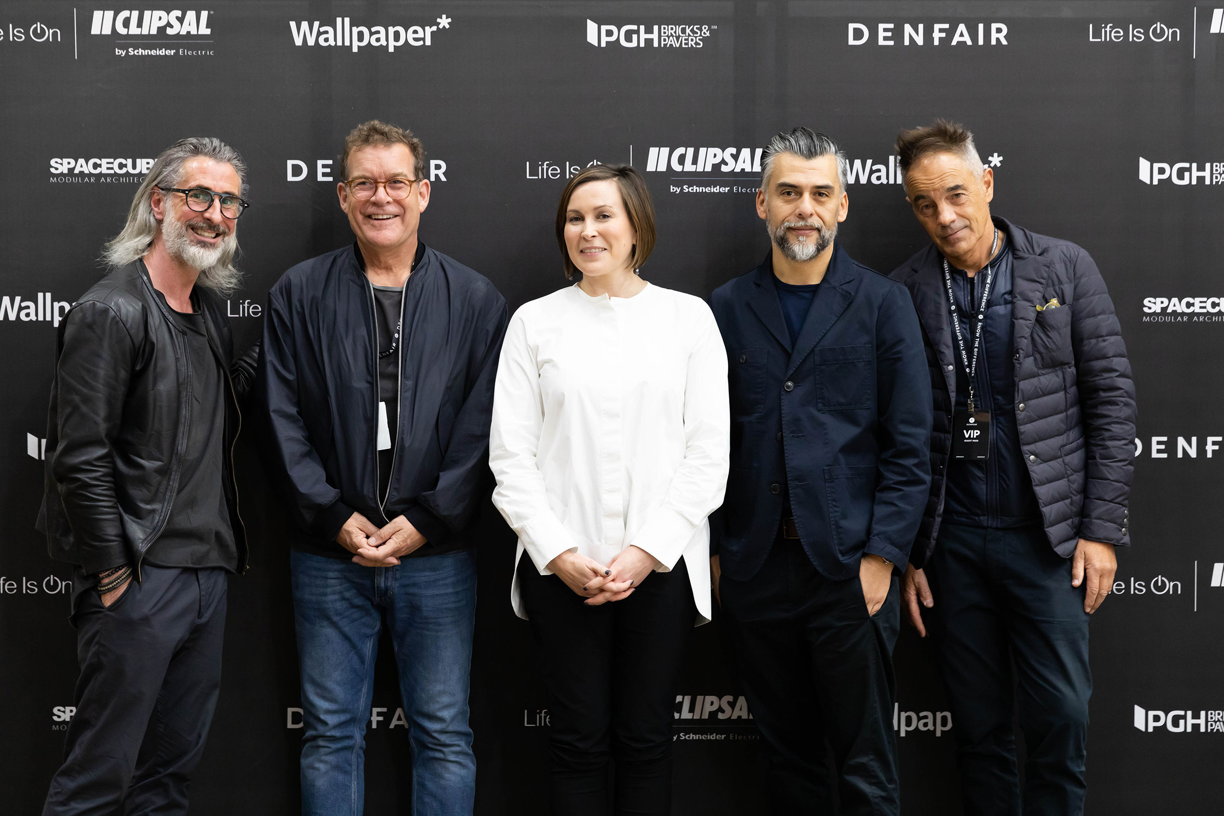 DENFAIR awards 2019 judges with organisers, left to right: Thibaud Cau-Cecile,  Rob Mills , Suzy Annetta, Claudio Oyarce and  Chris Connell