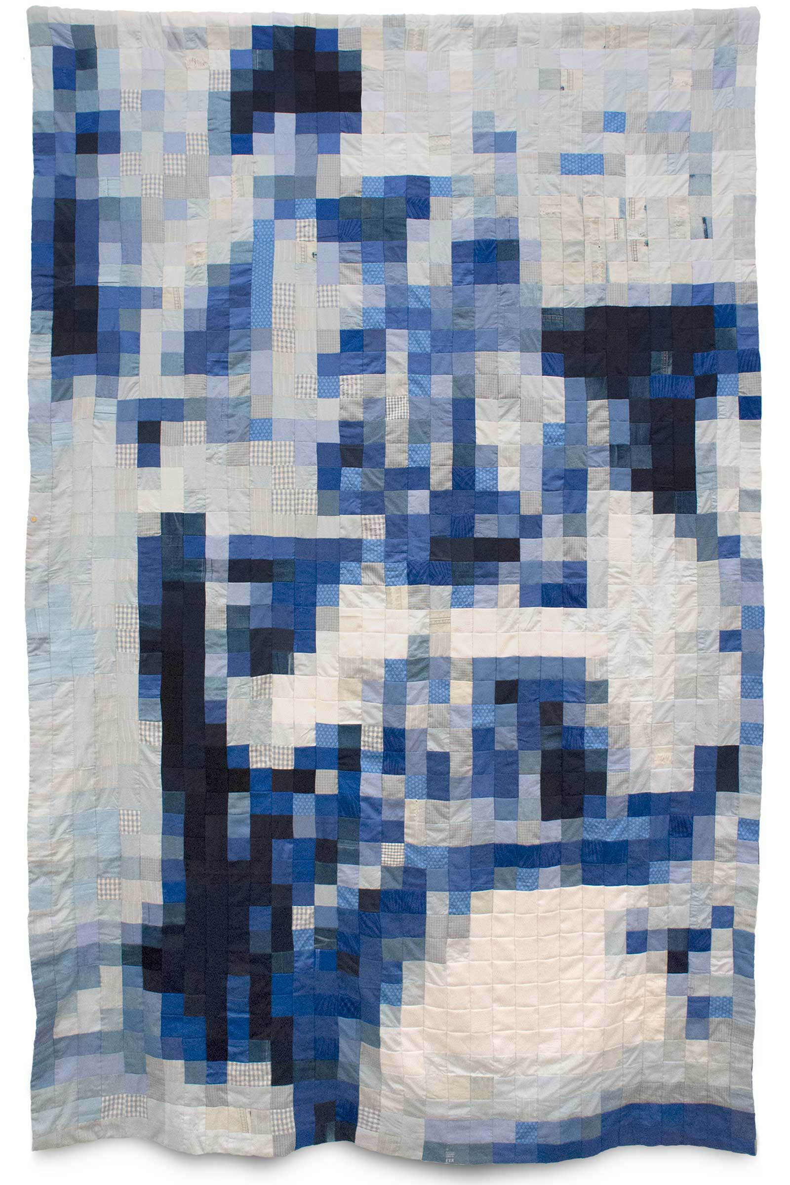 Võ Trân Châu, Blue, 2018, Used clothes, thread, 93.3 x 60.2 inches. Image courtesy of the artist and Galerie Quynh, Ho Chi Minh City, Vietnam.