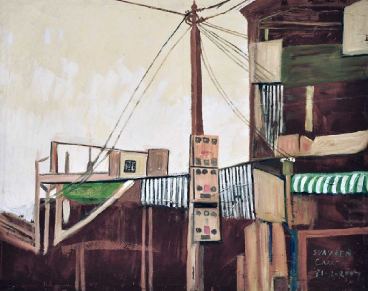 Svay Ken,  Electrical Lines , 2007. Oil painting on canvas, 100 x 80cm. Image courtesy of Larry Strange and the artist