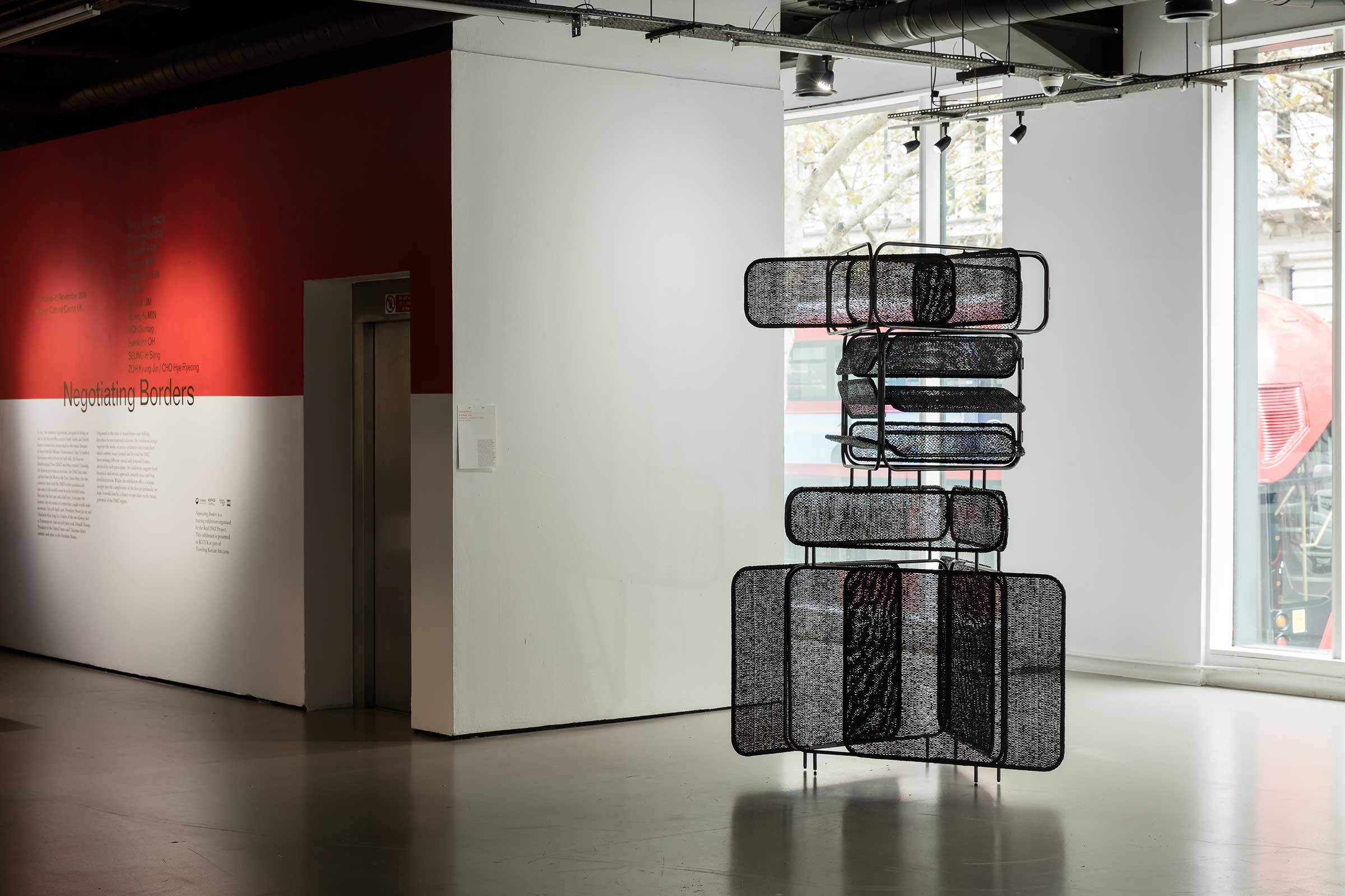 Installation view of Negotiating Borders (2019) at the Korean Cultural Centre UK. Image by Dan Weil. Courtesy of the artists and the Korean Cultural Centre UK