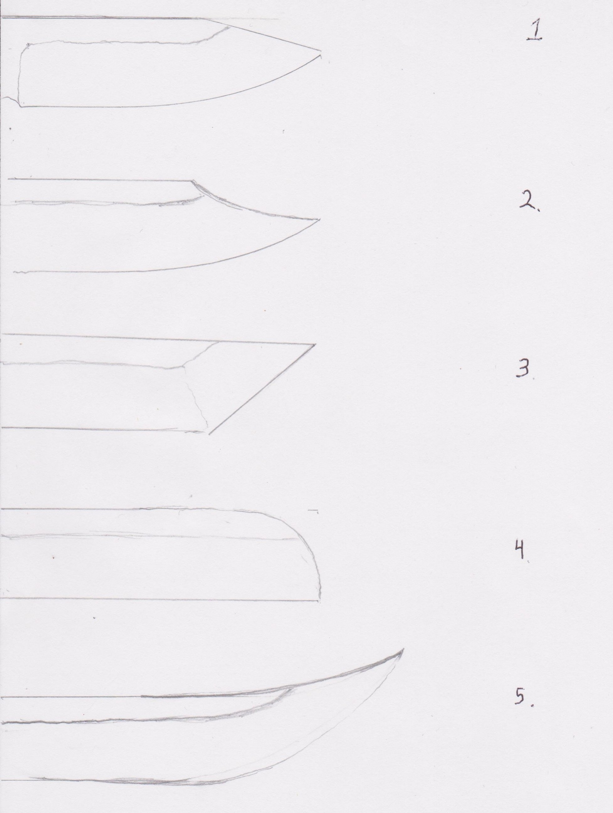 1. Drop point  2. Clip point  3. Tanto  4. Sheepfoot  5. Trailing point