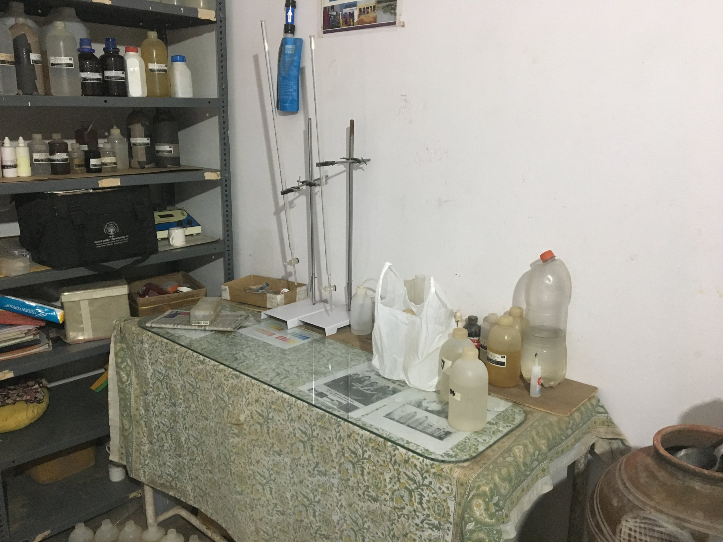 Local water quality testing lab in Rajasthan.