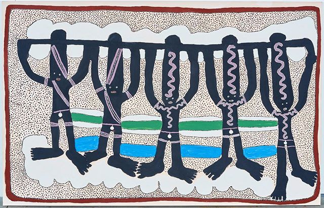 RECENTLY SOLD MASTERWORK BY THE LATE JARINYANU DAVID DOWNS... . Untitled (Dancing Kurtal), 1988 Natural earth pigments and synthetic polymer paint on linen 137 x 213.5cm . Jila Kurtal is an important rainmaking centre in the eastern region of the Great Sandy Desert of Western Australia. Jarinyanu and his brothers learnt to perform the ceremony to make rain at the jila (permanent waterhole) before they came north to station country. . The ceremony was tightly choreographed, governed by the relationships between all of those who were in attendance. The organisation was arranged around moieties that are represented by two birds, wiyurr and kitirr. The two birds are known as rain-birds who brought the rain from different directions: wiyurr from the northwest and kitirr from the northeast. The contrast in the style of the painting on the bodies of the dancers indicates this division with wiyurr on the left and kitirr on the right. . Along with the reference to the rain-bringing birds on the bodies of the men, Jarinyanu has placed kurtukurtu, the long clouds that come in at the beginning of the wet season, in bands at the top and the base of the work. As well as this, the long object that the men are holding above their heads is also kurtukurtu. The symbolic object punctuates the composition in much the same way as kurtukurtu as cloud, cuts across the wet season sky. . ✏️ (c) Greer Adams, 2018