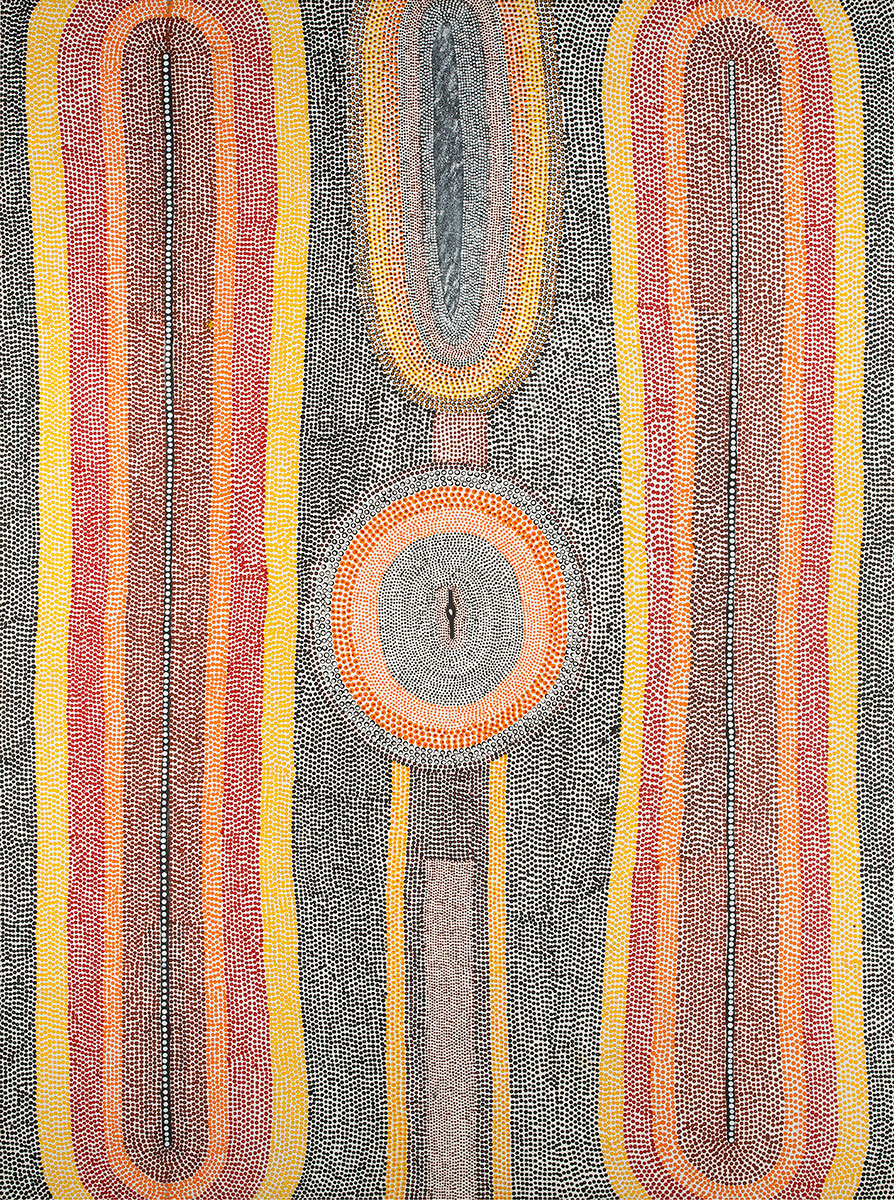 Untitled , 1991   Bears artist's signature, dimensions, Duncan Kentish catalogue number 040/91 and 'Commissioned by Duncan Kentish'  on the reverse  Synthetic polymer paint on linen 137 x 101.5cm   Provenance:  Painted in Fitzroy Crossing, Western Australia in 1991 Commissioned by Duncan Kentish Duncan Kentish Fine Art, Adelaide Private Collection of the late Duncan Kentish, Adelaide    Acquired:  Art Gallery of Western Australia, Perth, Western Australia