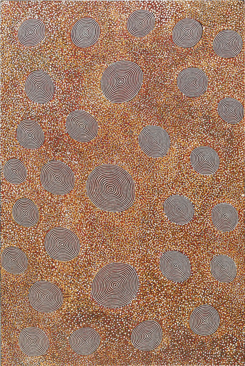 The Tingari at Yawulywurru , 1987   Bears 'East to West' exhibition details, catalogue number 95, location (Tandanya 1990) and title on the reverse of the stretcher and Papunya Tula Artists catalogue number AT870668 on the reverse  Synthetic polymer paint on canvas 183 x 121cm   Provenance:  Commissioned by Duncan Kentish in Docker River, Northern Territory Papunya Tula Artists, Alice Springs Private collection   Exhibited:   East to West: Land in Papunya Tula Painting,  curated by John Kean, Tandanya National Aboriginal Cultural Institute, Adelaide, 4 March to 3 June, 1990, cat. No.95  Cf. For a stylistically similar painting see  Tingari Cycle Dreaming at Paratjakutti, 1989 in the collection of the Metropolitan Museum of Art, New York.  For another work by the artist produced around the same period see Women's Dreaming Near Kiwirrkura, 1989 in the Kluge-Ruhe Collection in   Hetti Perkins and Hannah Fink,  Papunya Tula: Genesis and Genius , Sydney: Art Gallery of New South Wales, 2000, p.106 and Howard Morphy and M. Smith Boles (eds.),  Art from the Land: Dialogues with the Kluge-Ruhe Collection of Australian Aboriginal Art , Charlottesville USA: University of Virginia, 1999, p.242, pl.8.30.   Acquired:  National Museum of Australia, Canberra