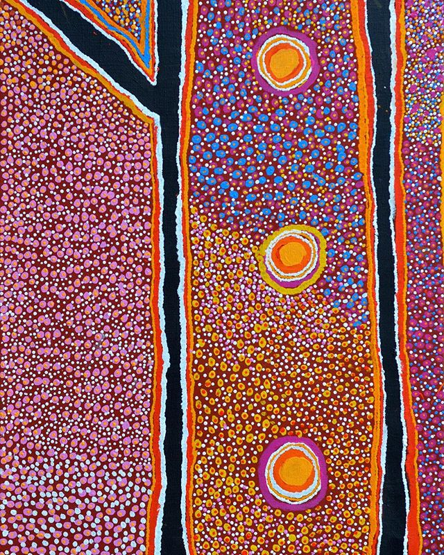 NEW IN THE STOCKROOM Susie Bootja Bootja Napaltjarri (c.1935-2003) Kaningarra, 2002 Synthetic polymer paint on linen 90 x 60cm For more information contact us at info@greeradamsfineart.com . Kaningarra is Napaltjarri's traditional country located west of Balgo in the Great Sandy Desert, at the top of The Canning Stock Route. She has painted an abundance of tjunda (bush onion) and tjirrilpatja (bush carrot) found on the grassy plains between the hills of the area. The straight lines represent the intermittent kiliki (creeks) while the three circles depict waterholes.
