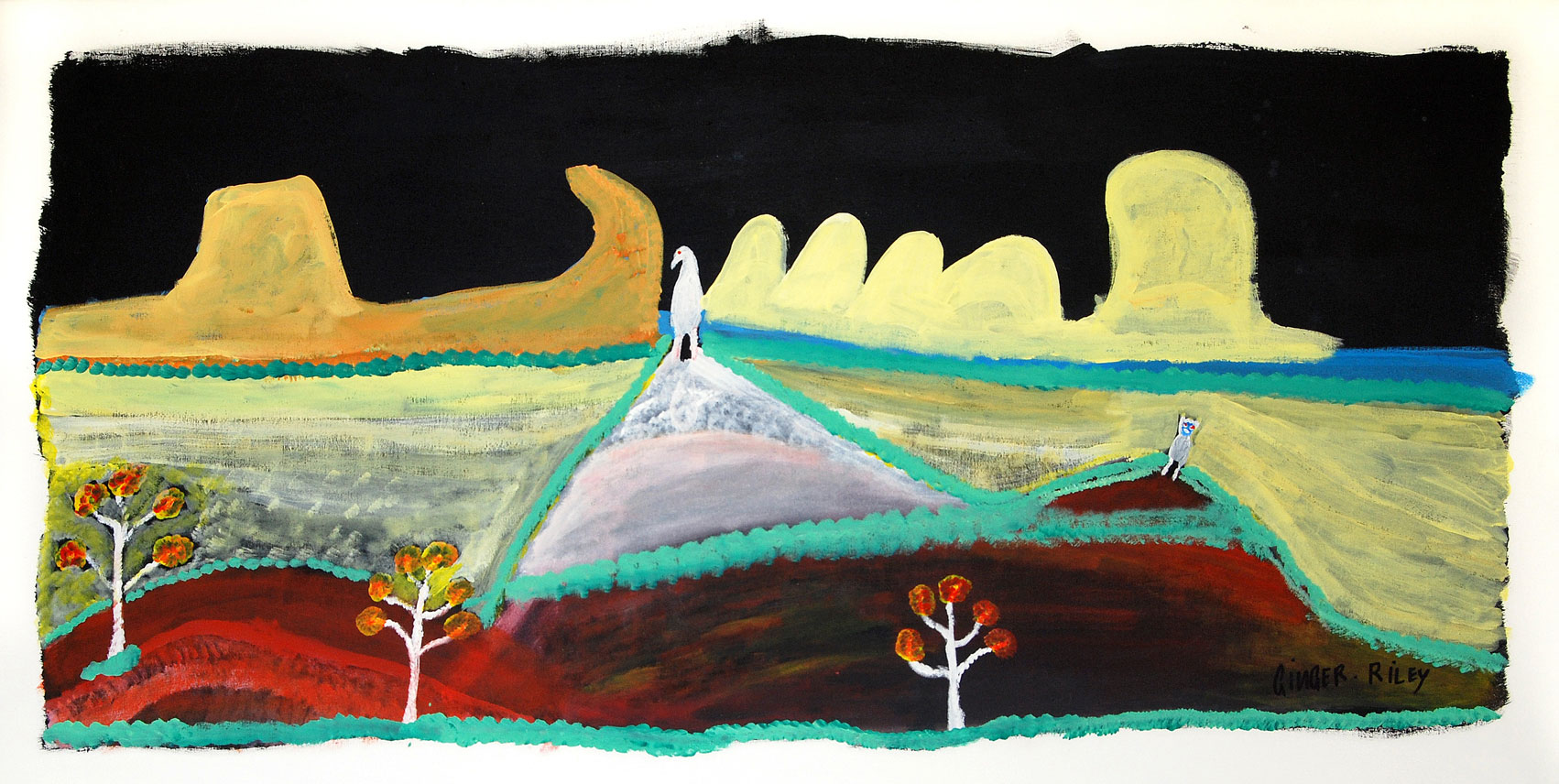 Ngak Ngak and The Owl At Night, 1997   Synthetic polymer paint on canvas 57 x 123cm   Provenance:  Painted at Araluen Art Centre, Alice Springs during an artist in residence in 1997 Alcaston Gallery, Melbourne Private collection   Solo Exhibition: Artist's Retrospective:   Mother in Mind: The Art of Ginger Riley Munduwalawala , National Gallery of Victoria, Melbourne, VIC, 17 July – 22 September 1997   Group Exhibition:   Agents of Change , Biennale of Sydney, Art Gallery of New South Wales, Sydney, NSW (dates tbc). The artist shared the ground floor at the Biennale with Yoko Ono   Literature:   Judith Ryan,  Mother in Mind: The Art of Ginger Riley Munduwalawala , Melbourne: National Gallery of Victoria, 1997, p. 104 (colour illustration).  Cf. For related examples see,  Ngak Ngak – Night time , 1989 in The Holmes a Court Collection and  Garimala, Ngak Ngak and the Four Archers in Limmen Bight Country , 1997 in the Macquarie University Art Gallery.    Ngak Ngak and the owl at night, 1997   is a particularly rare example and significant milestone for the artist. Riley, as caretaker of his mother's country, was only allowed to paint the sun, rain and clouds but never the moon, stars or wind. In this example the artist adhered to cultural restrictions by not painting the moon but rather bathing his mother's country in moonlight.  Centre stage is a small Ngak Ngak, the white breasted sea eagle. Riley is considered to be Ngak Ngak, inheriting it from his mother and here, he is seen keeping watchful eye over the Marra landscape. The owl is also an important totem in his Mother's Country.  In the distance is the rock formation known as the 'ruined city' located near Borroloola in the Northern Territory. Riley was awarded  Jungkayi  (custodian) status for this site during this time. It is a very important site in Marra Dreamtime but it also exists today despite being relatively unknown and hidden off the tracks.  The bright blue Limmen Bight River can be seen on the far lef