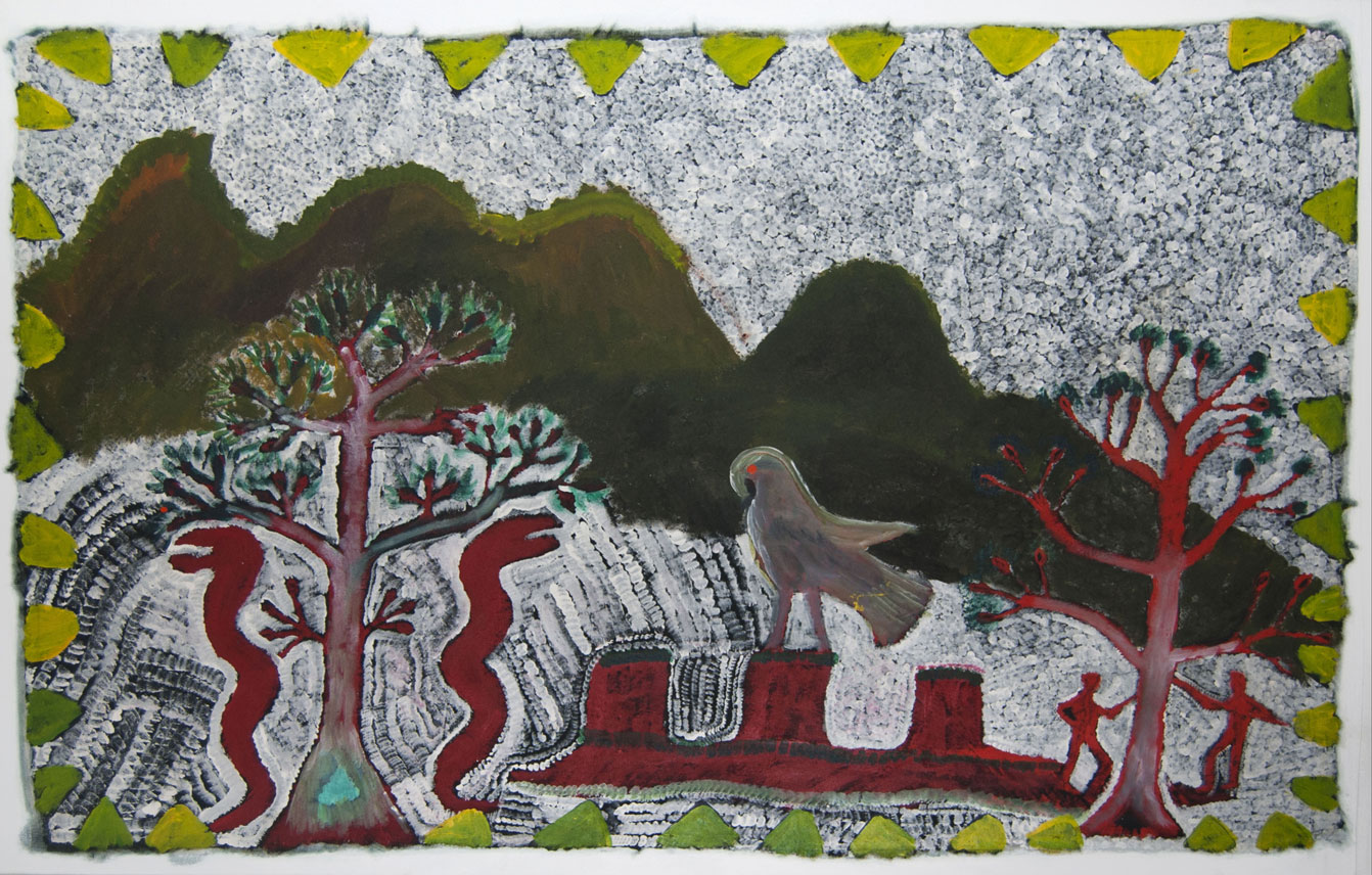 """Ngak Ngak and the Four Arches , 1990  Synthetic polymer paint on canvas 171 x 144.5cm   Provenance:  Alcaston Gallery, Melbourne (AK 284 January 1990) Private Collection   Solo Exhibition: Artist's Retrospective Exhibition:   Mother in Mind: The Art of Ginger Riley Munduwalawala , National Gallery of Victoria, Melbourne, VIC, 17 July – 22 September 1997   Literature:  Judith Ryan,  Mother in Mind: The Art of Ginger Riley Munduwalawala , Melbourne: National Gallery of Victoria, 1997, p.61 (colour illus.).  Cf. For a related example see,  The Four Archers , 1994 in the  Bridgestone Museum of Art , Tokyo, Japan.    Ngak Ngak and the Four Archers , 1990  is a masterwork from this period. It bears all of Riley's vibrant icons of country that make up a quintessential Marra Country painting: Ngak Ngak, the ancestral trees, ancestors, the creator snakes and the Four Archers depicted here as three archers – Depending on the vantage point, you can sometimes see two, three or four.  The Four Archers, are some 55 kilometres inland from the from the mouth of the Limmen River. For Riley, the landforms were the central point of the world, """"where all things start and finish""""[1] and therefore, were continually the focal point of many of his landscapes. The rock formation was created by Garimala, described by Riley as """"Taipan that can strike you dead in a minute.""""[2] Although Garimala is referred to as a single being, it is commonly depicted as two snakes.  Another of Riley's distinctive icons, Ngak Ngak the totemic white-breasted sea eagle, is shown atop one of the Four Archers. Ngak Ngak is the caretaker and protective spirit who looks after country. Sometimes he is depicted with his eyes closed suggesting that he may be asleep or not looking at anything that tribal lore dictates that he should not. Here, Ngak Ngak is wide awake indicating that ceremony has already taken place. [3]  Riley has also depicted two of the sacred shark's liver trees guarded by creator snakes on the left """