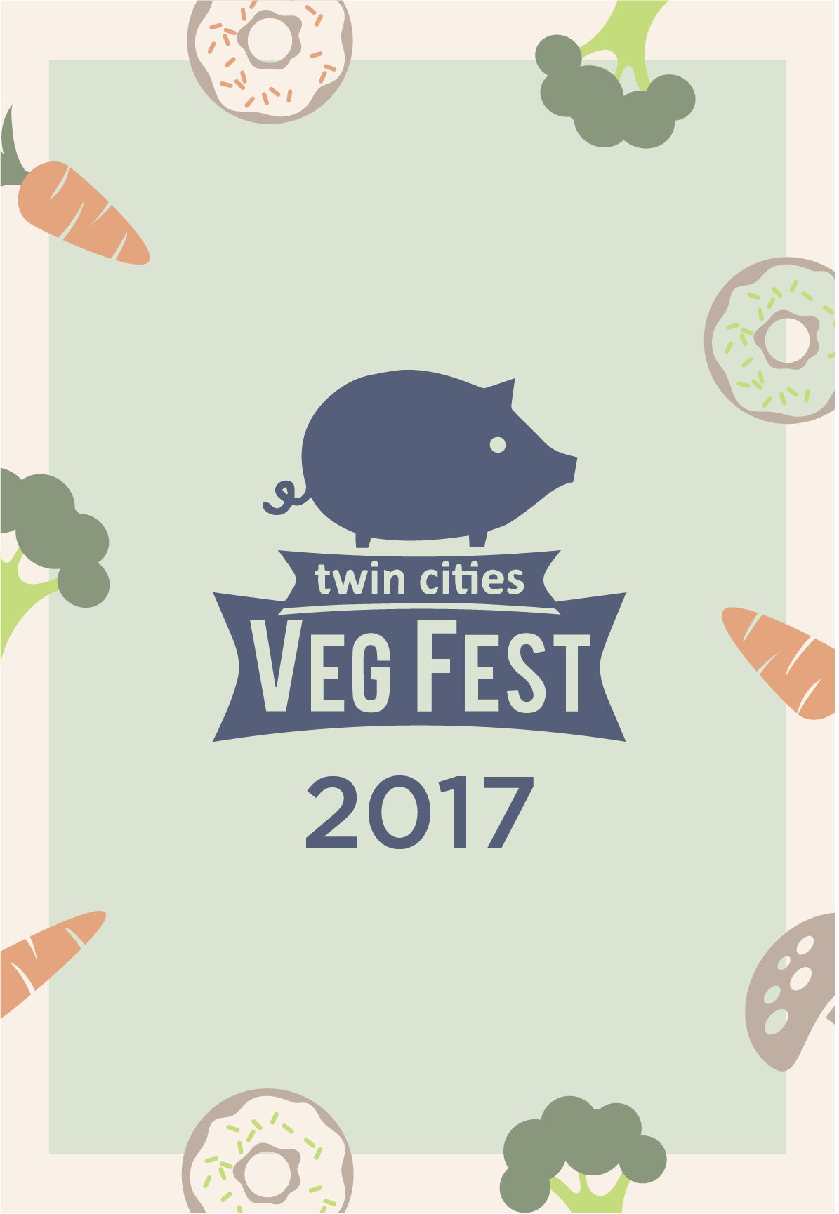For  Twin Cities Veg Fest . Front design page for a flyer to be distributed at the University of Minnesota campus.