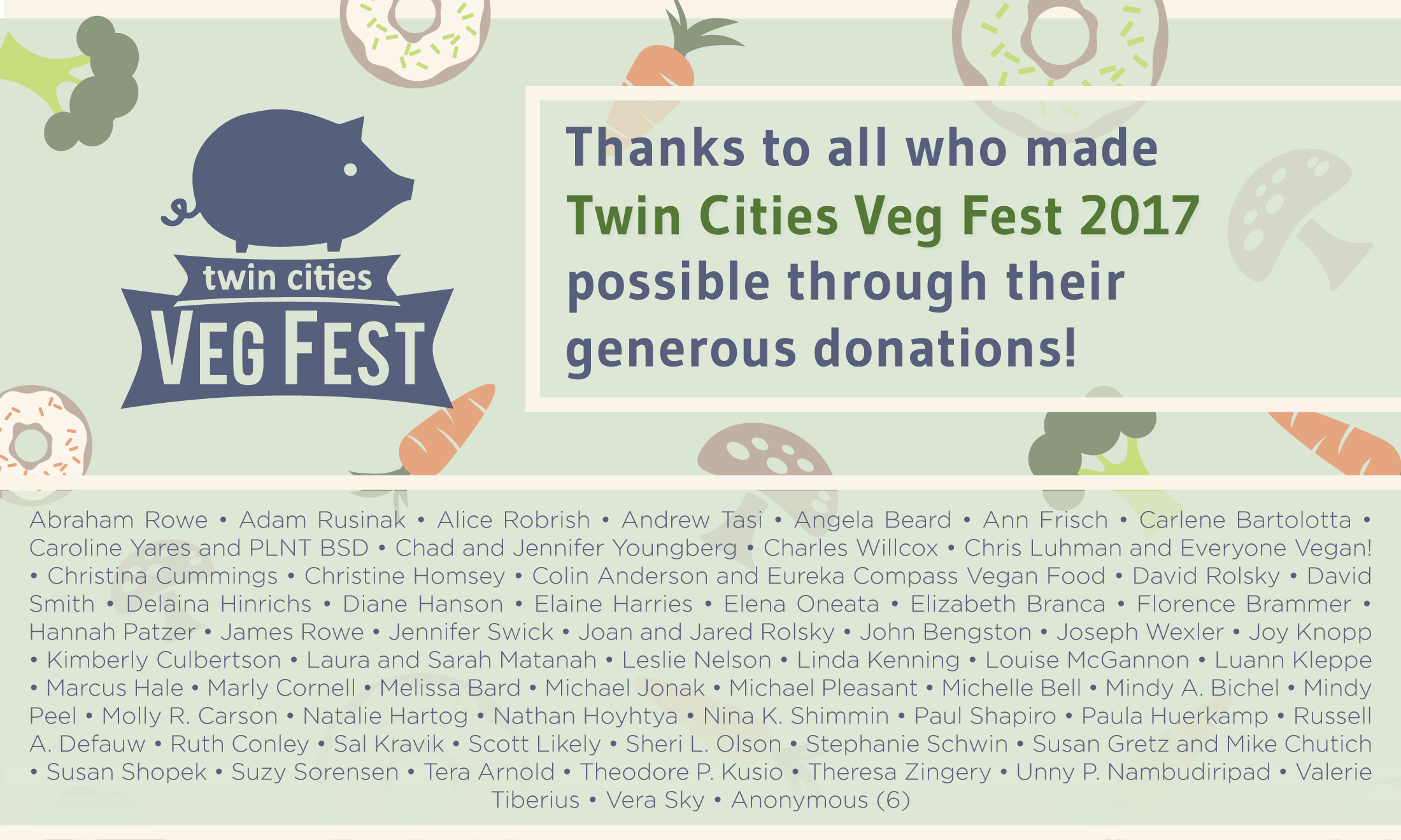 For  Twin Cities Veg Fest . Large (5ft x 3ft) banner honouring donors, to be hung up at the event.