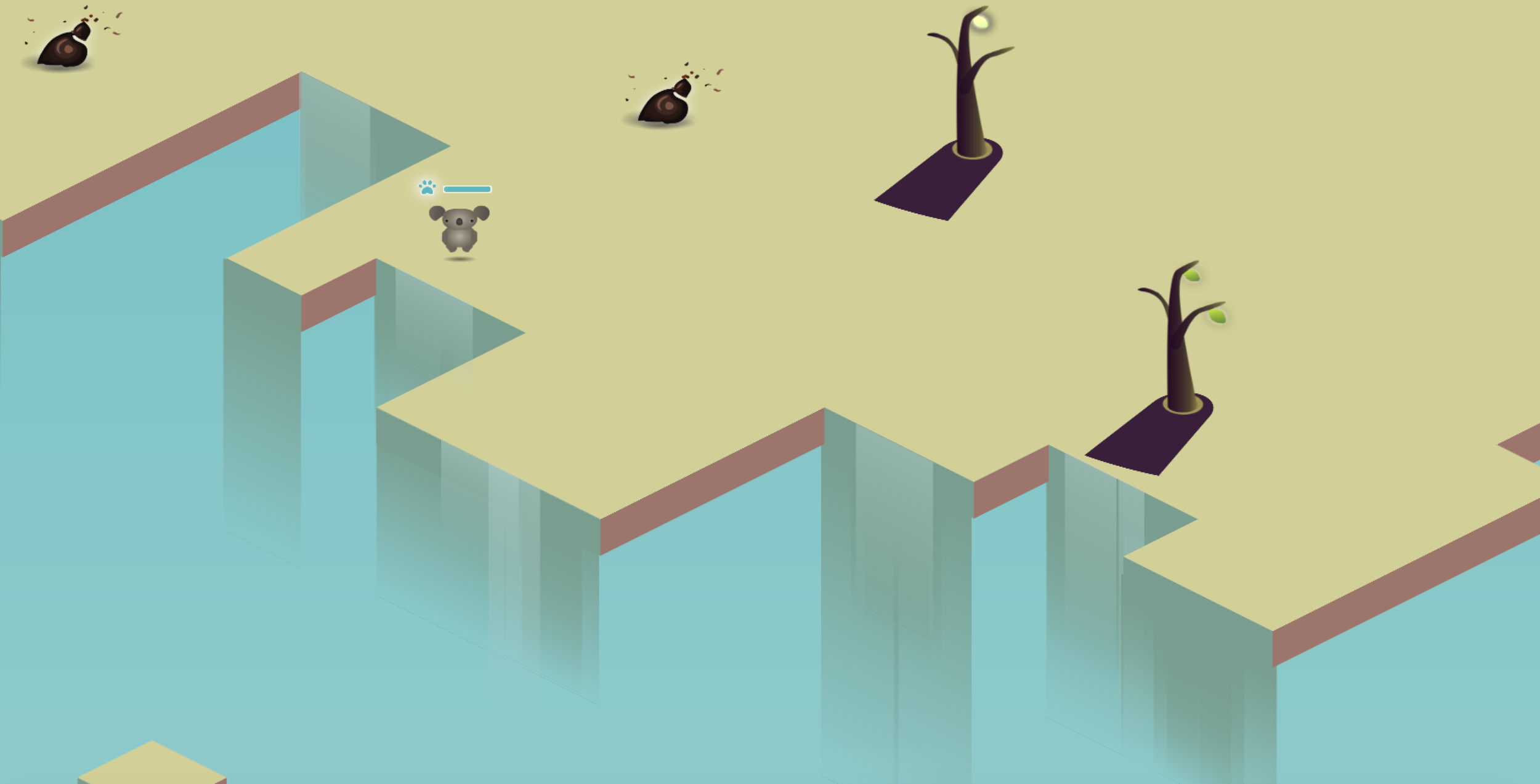 The game in action: the landscape is sharp and geometric to indicate a surreal environmental beauty, whereas the interact-able items are round, soft and accessible.