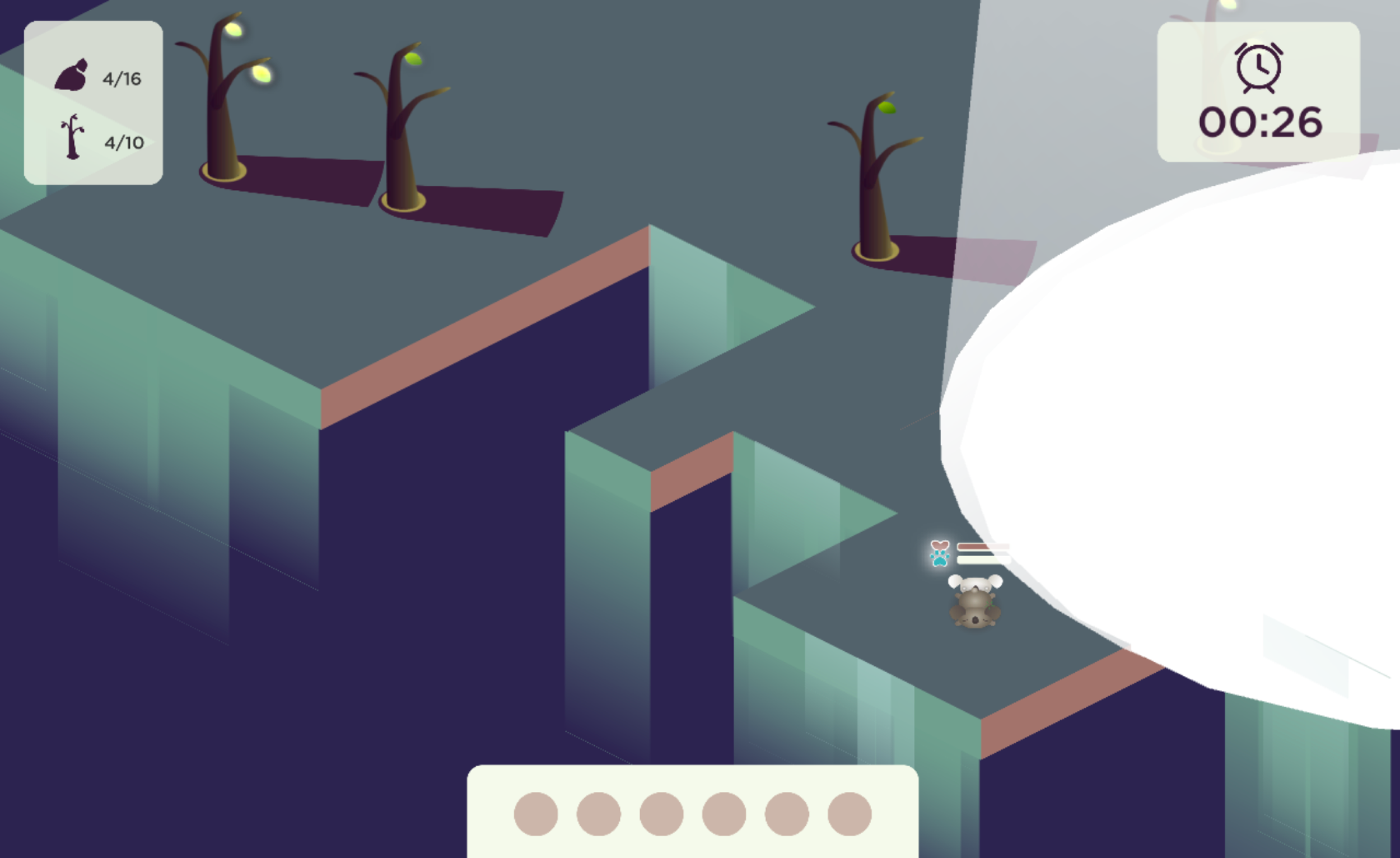 The game at night; the player controls the ghost koala, which has to avoid the evil sun ray until time runs out and it becomes daytime again.