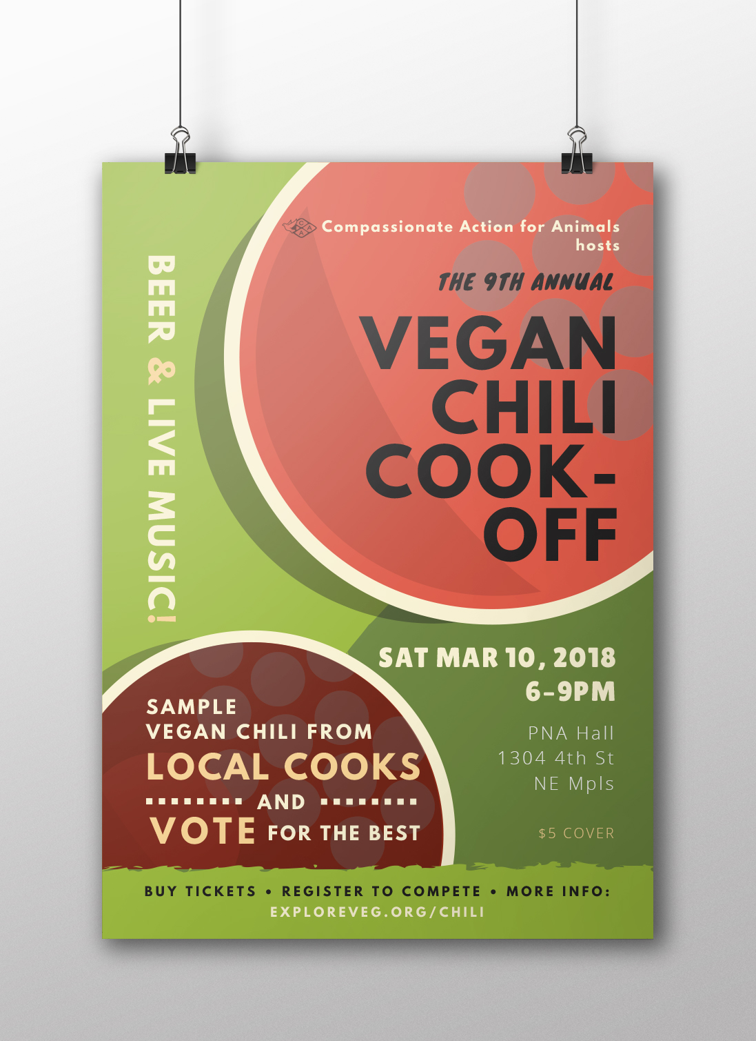 Letter size poster for the Vegan Chili Cookoff.