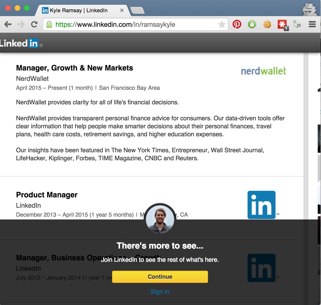 Old Linkedin signup upsell