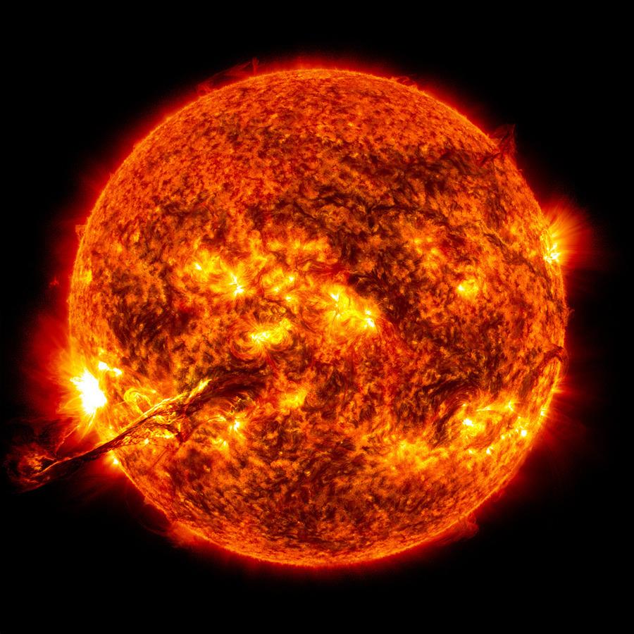 Solar eruption on the sun
