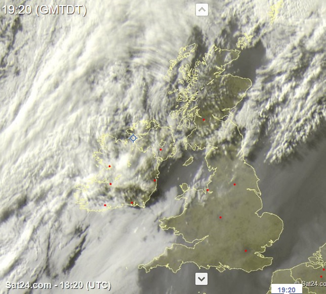 Latest Satellite image from Sat 24 of the cloud build over Ireland